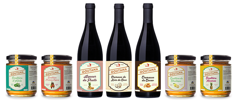 Seven of the final 17 labels designed for Anatraf.