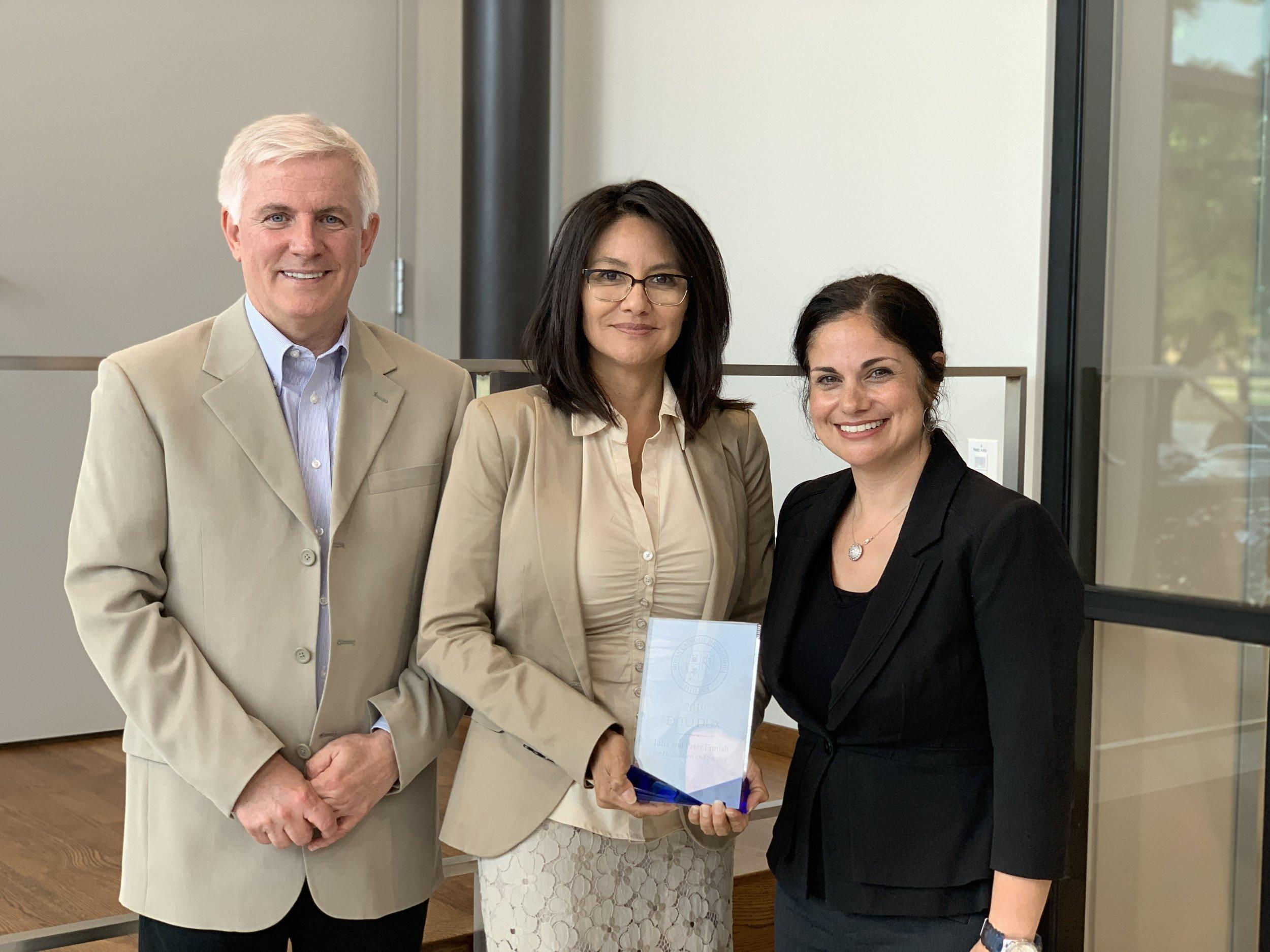 Pictured (left to right): Peter Ermish, Julia Ermish, President Leah Rios.