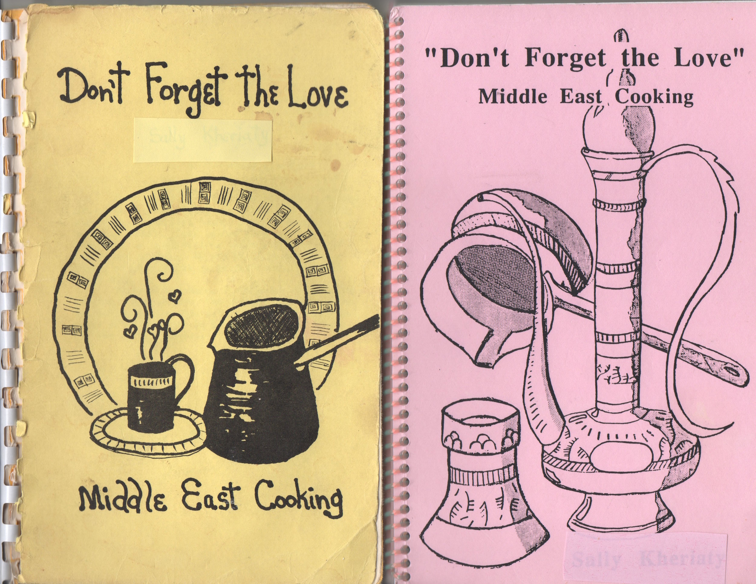 These are the two covers mom used. The yellow one was her first edition. The pink one was an improved version. My copies are well used.