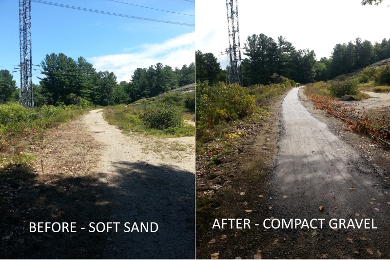The Goffstown Board of Selectmen have accepted the donation of material and labor from the Friends of Goffstown Rail Trail. Our Volunteer Work Crew has been replacing the soft sand on the trail under the power lines near Route 114 and the intersection of Greer Road. A 4 ft. wide path of hard nitpack gravel has been installed to enable easy passage of bicycles and pedestrians.     Shop at Amazon.com and the AmazonSmile Foundation will donate 0.5% of the price of your purchase to the Friends of the Goffstown Rail Trail. Check out    smile.amazon.com  for   more information