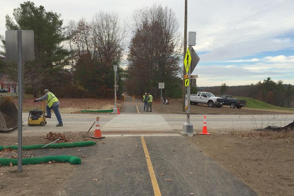 New RRFB lights await power at Henry Bridge Road crossing