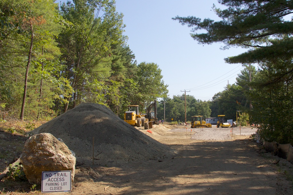 Site of new trailhead parking lot at western Mast Road crossing