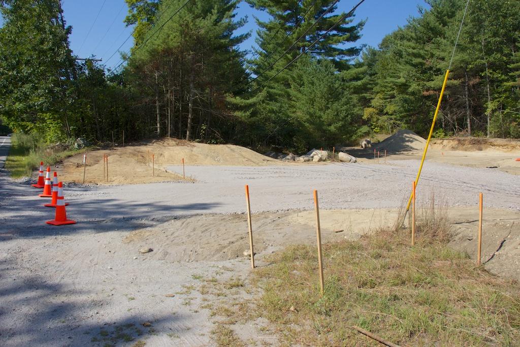New trailhead parking lot at western Mast Road crossing taking shape