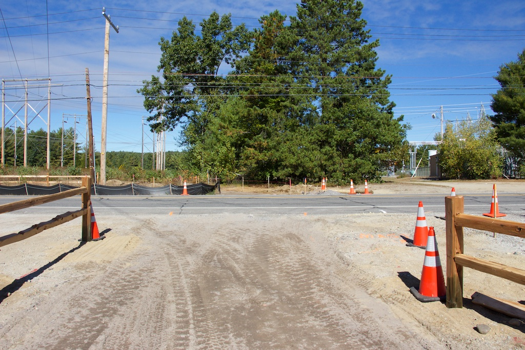 Realigned Mast Road crossing location near the ballfields