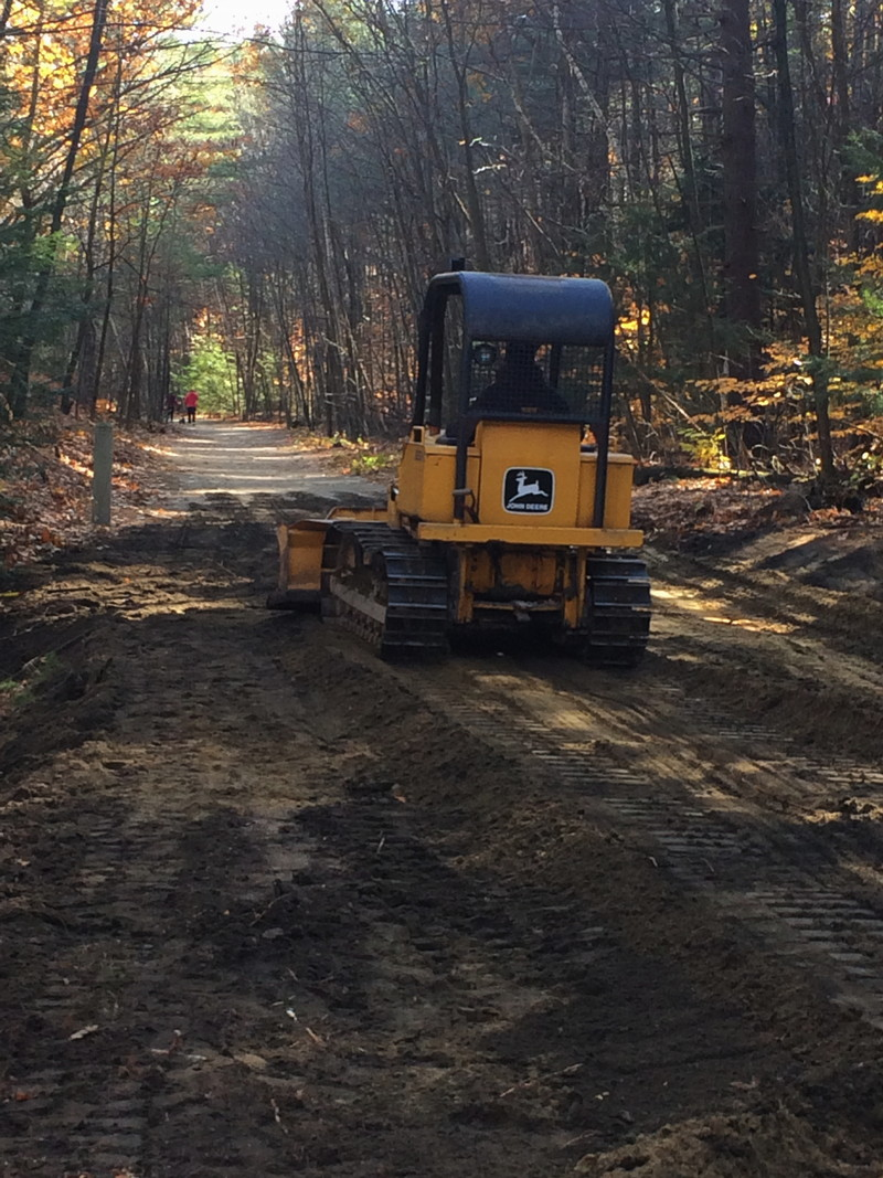 Thank you for your care and caution during the reshaping and compacting of the trail on the Goffstown Rail Trail near the end of the Piscataquog Trail. The next step will be to add the 'nitpack' gravel to meet the town trail specifications.