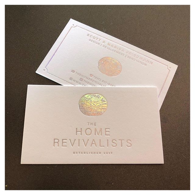 Holographic foil? Yes, please. #bizcards #thehomerevivalists @marisa_friedmann