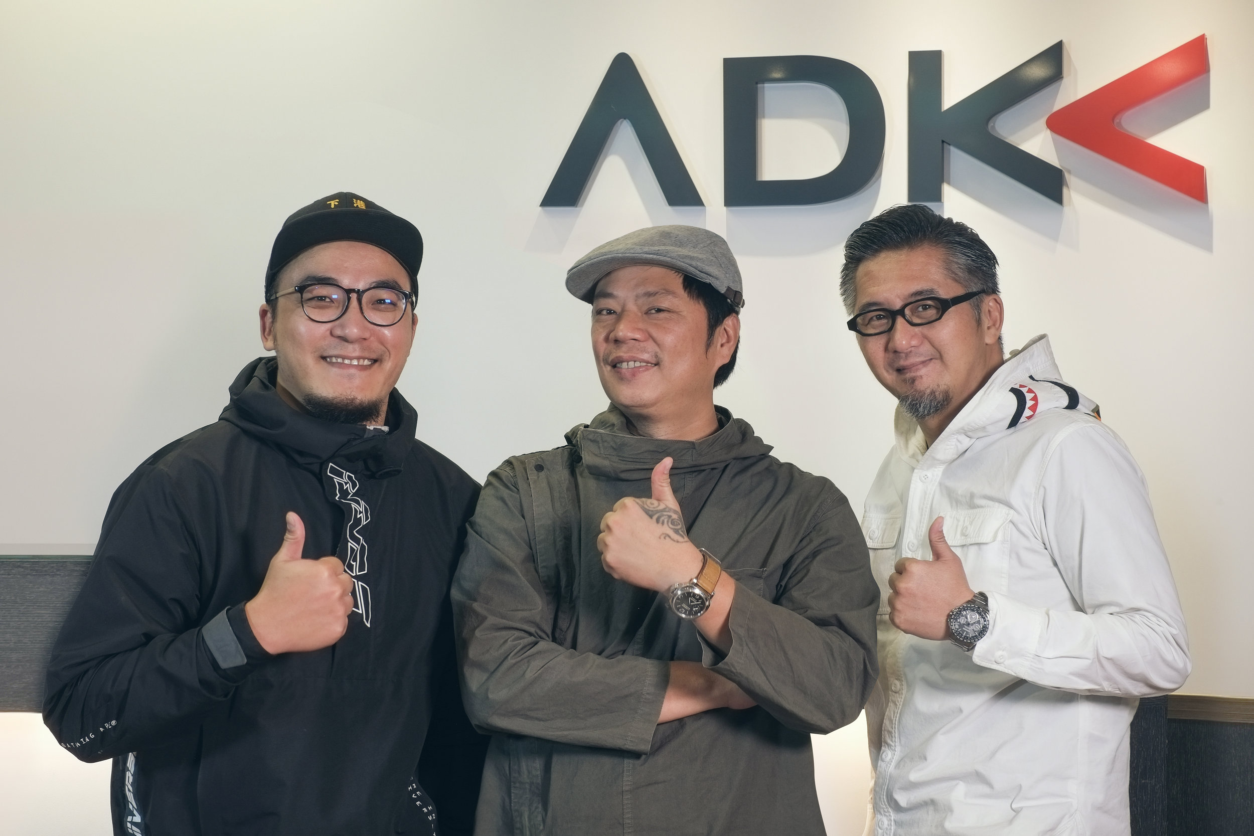 """Rhythm of Love Wall"" ADK Taiwan. From left to right: Yuzen Lin (Art Director), Kurt Lin (Group Creative Director), Richard Yu (Regional Chief Creative Officer)"