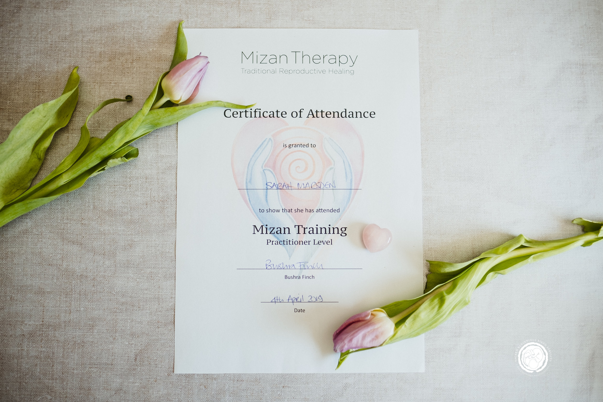 Sarah Marsden received her certificate to be a Mizan Therapy Practitioner for the East Midlands