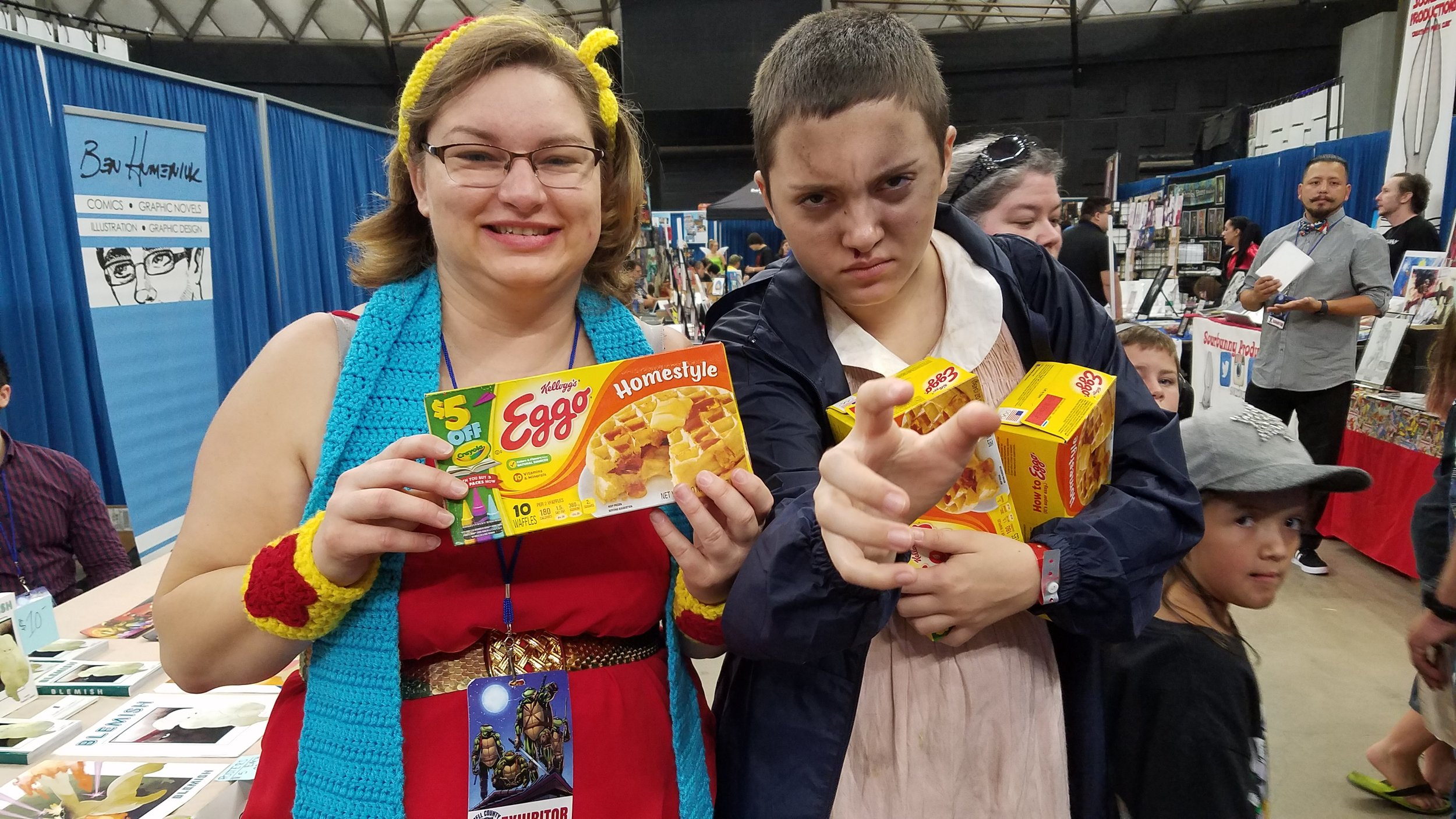 Eleven from Stranger things.  Back story: I actually had binge watched this series while crocheting to get ready for this Convention.  So I recognized her from down the end of the row.
