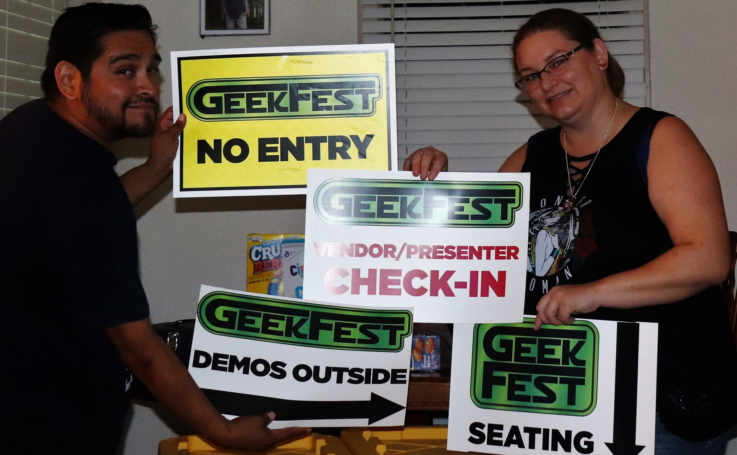 Goodbye Geekfest Name.  Next year they will be called Epically Geeky Expo.  They let us take some signs home for souvenirs.  I am going to find some places around my home office to sport these.