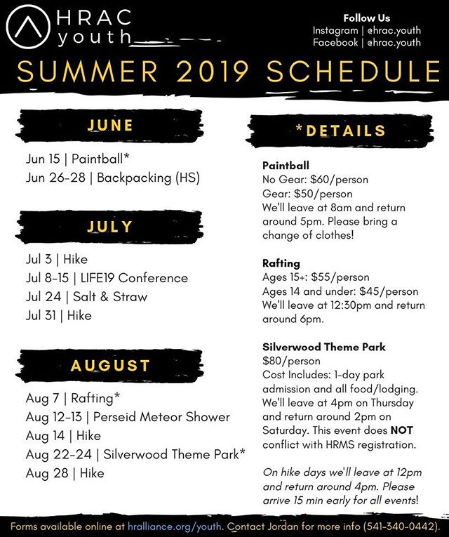 💥B O O M💥The summer schedule is here! Snap a screenshot and don't forget to sign up! Forms for all our events will be online (in our bio or on the church website at hralliance.org/youth).