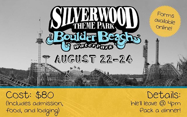 This Sunday (8/18) is the LAST DAY to sign up for Silverwood! Sign-ups can be found on the church website (link in bio). We have 9 spots lefts!