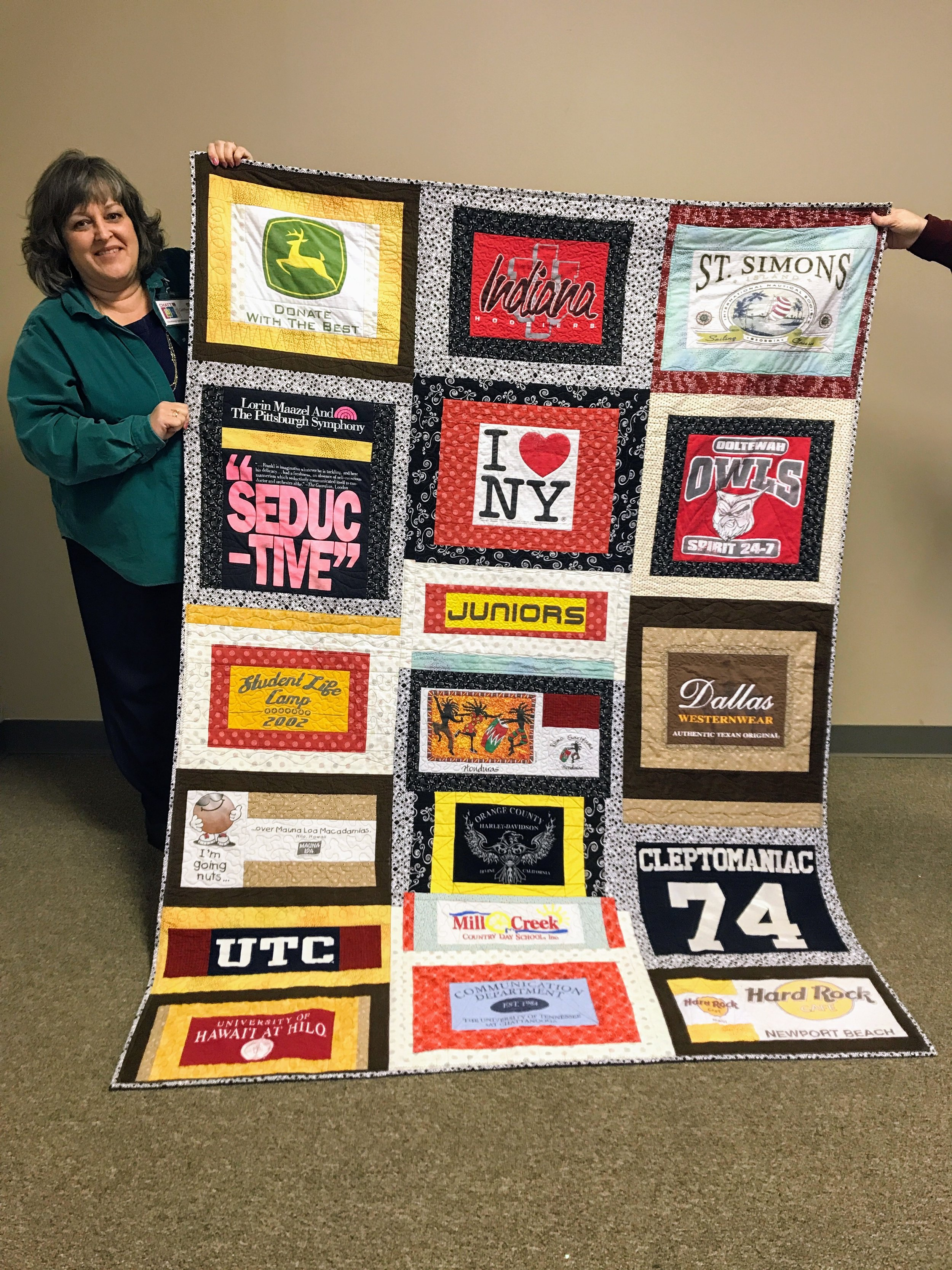 Catherine made this t-shirt quilt for her daughter