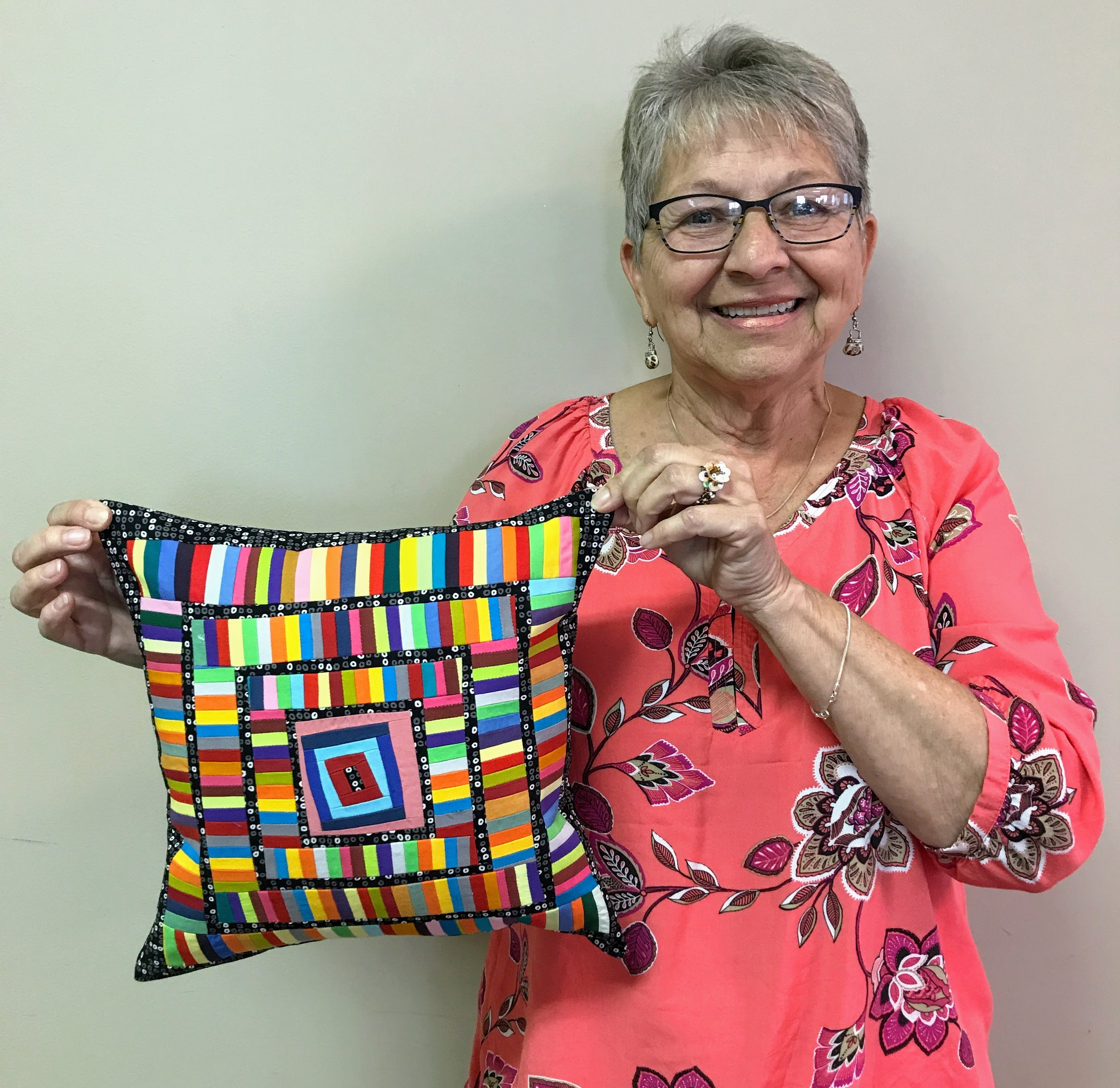 Sandi Suggs and her improv pillow