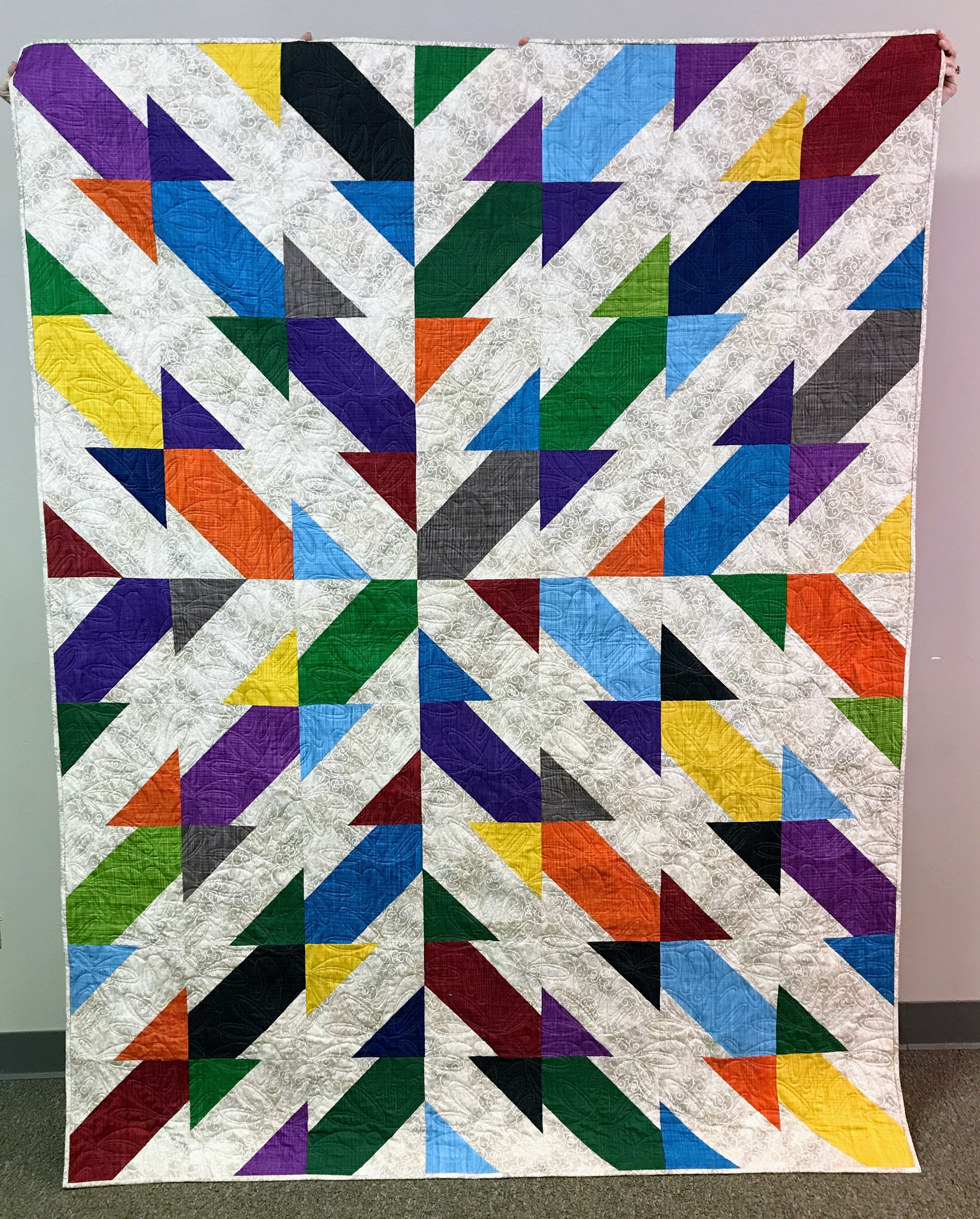 A quilt donated to Habitat for Humanity. Members pieced the blocks, which were assembled by Joan Thornbury.