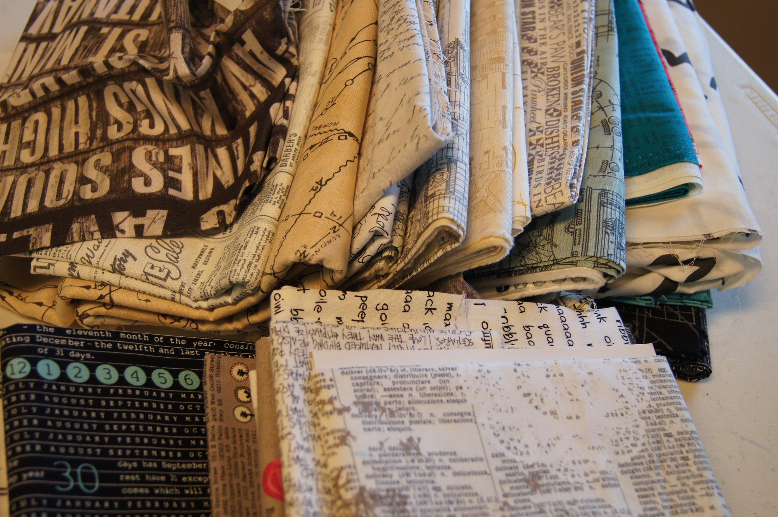 Examples of text print fabrics