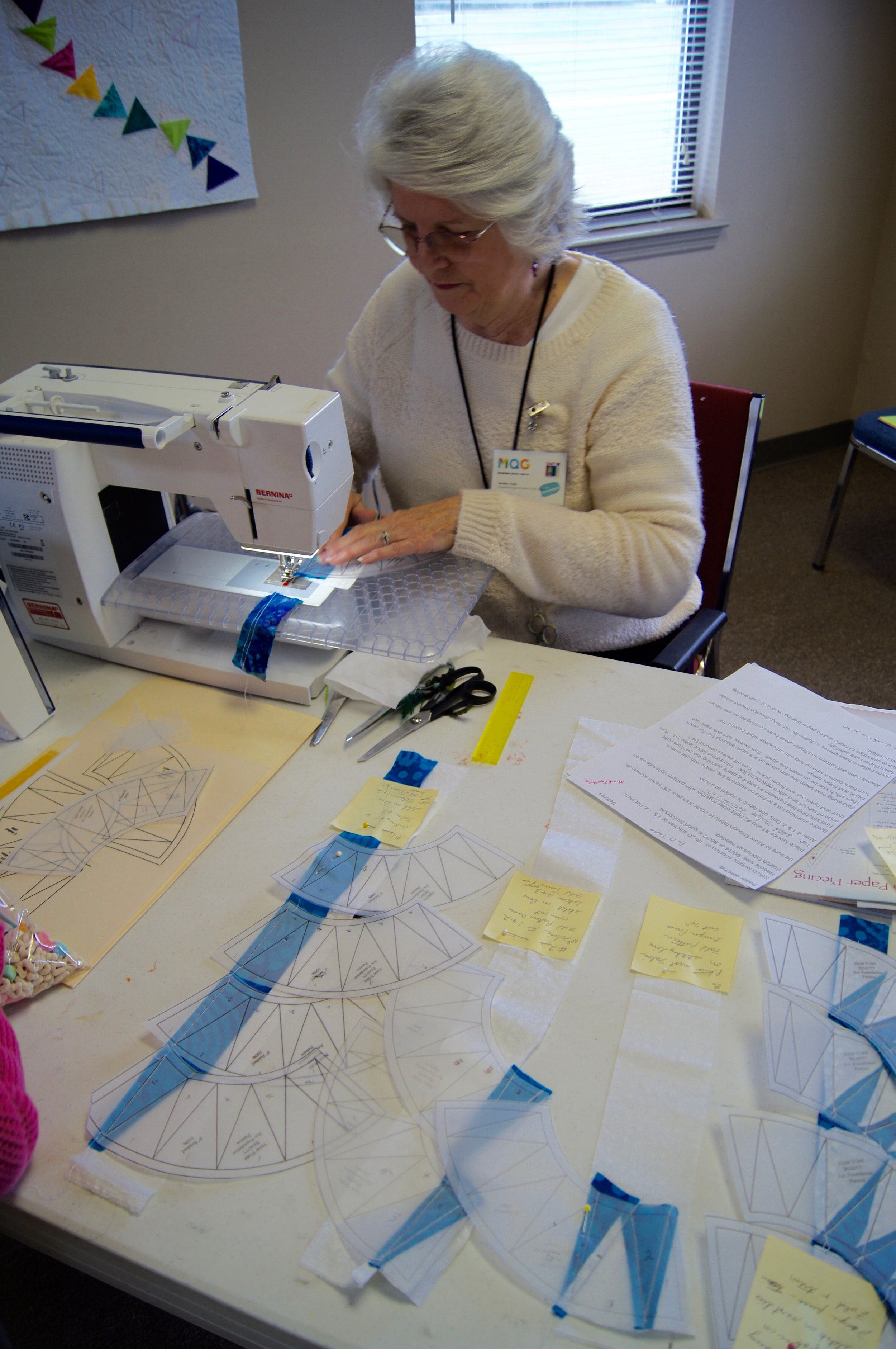 Delores Dady demonstrates chain piecing FPP.