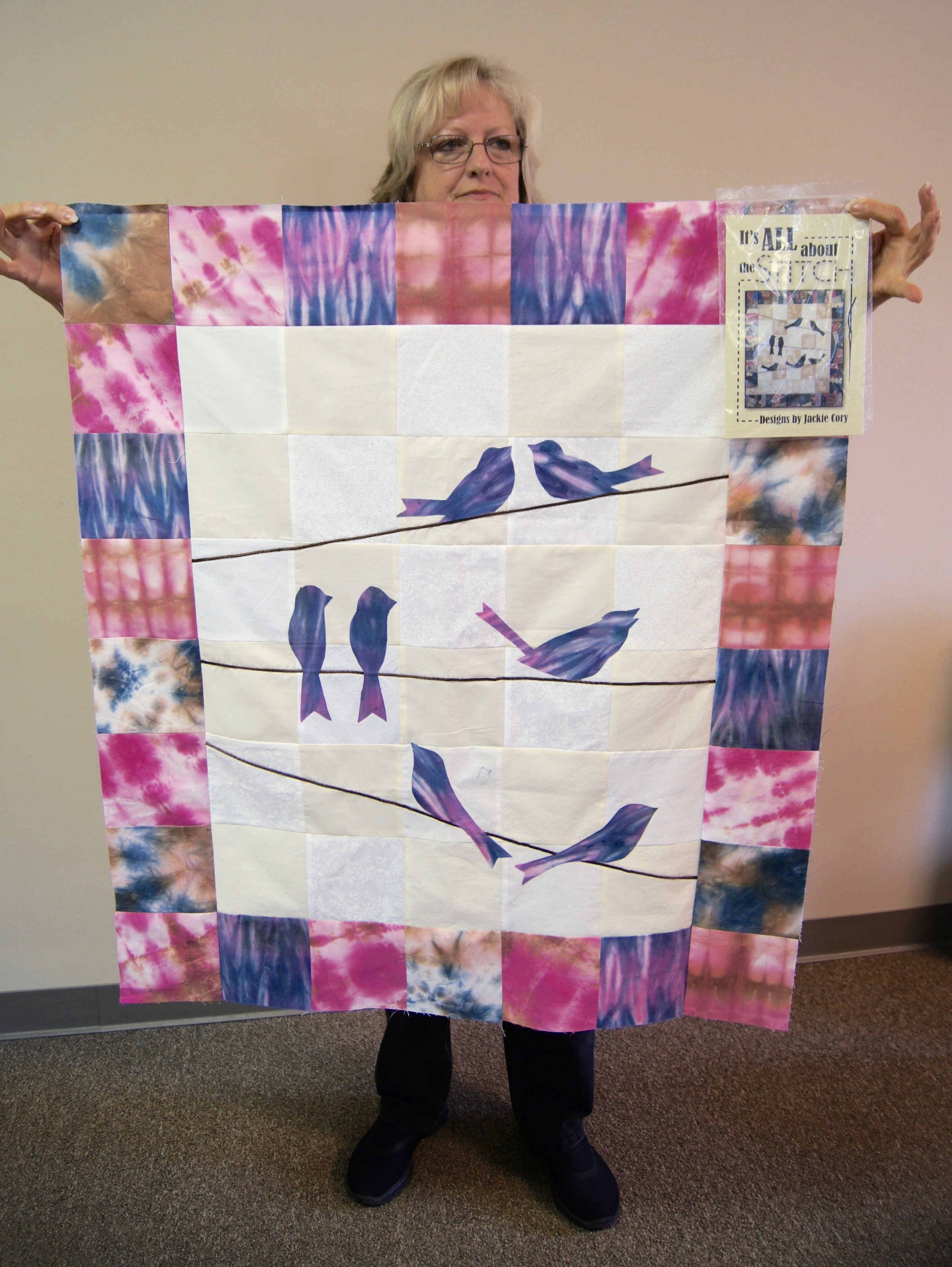 Karen Downer's shibori birds, made from a design by our own Jackie Cory