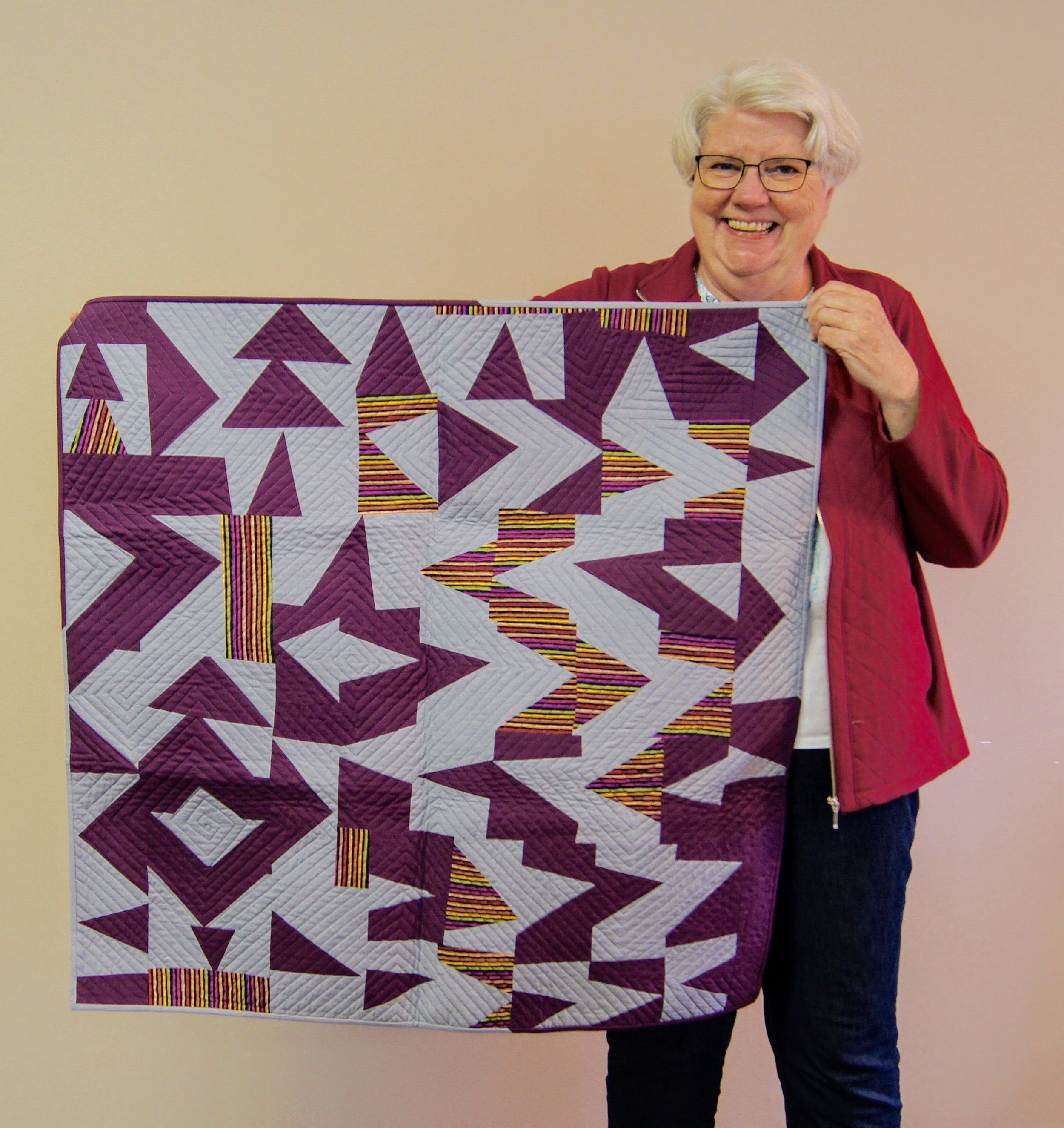 Jean Larson made this quilt with modern improv techniques