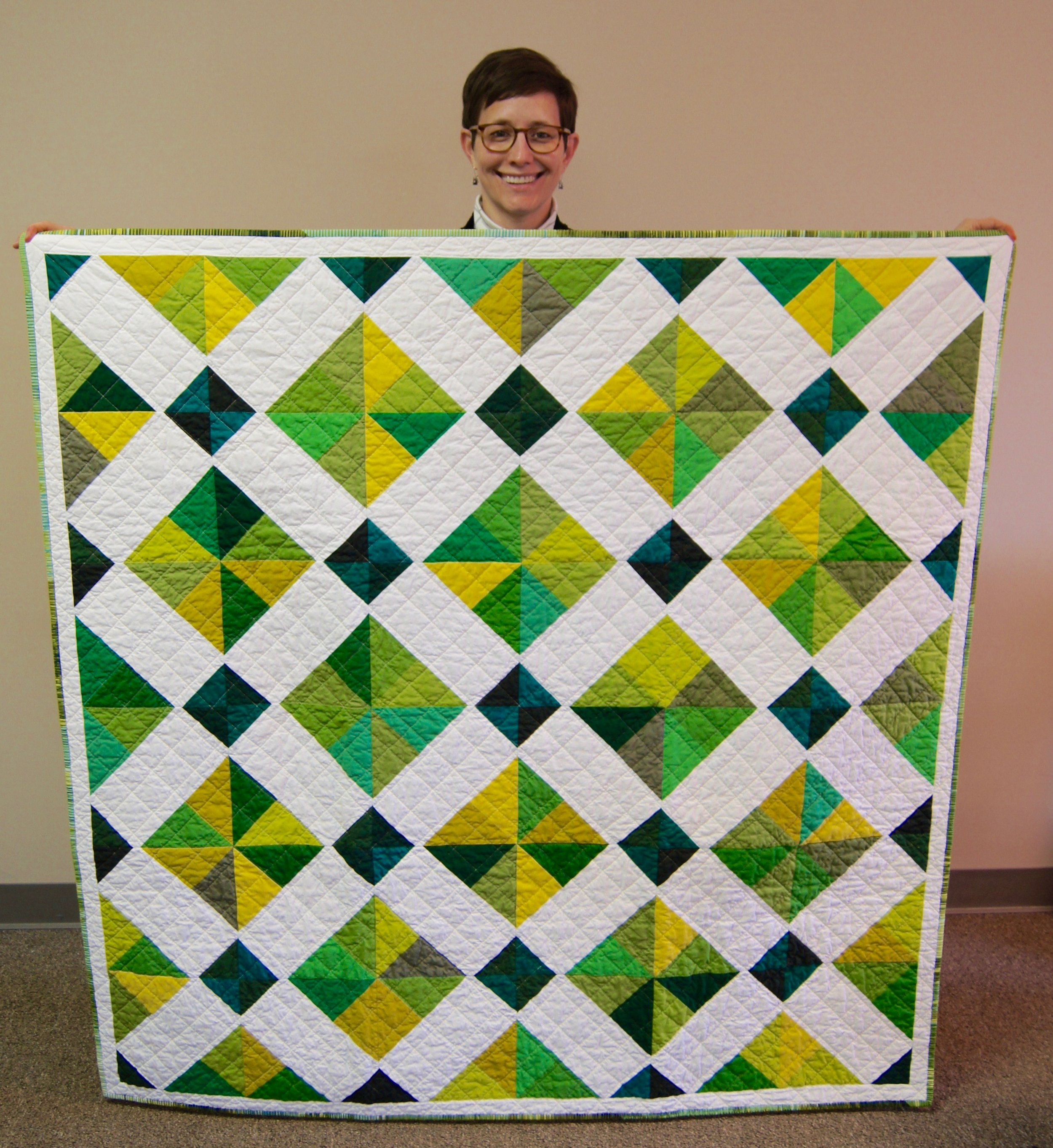 """Kelly Spell made this quilt following a pattern called """"Crystal Charm"""" by Marjorie Rhine"""