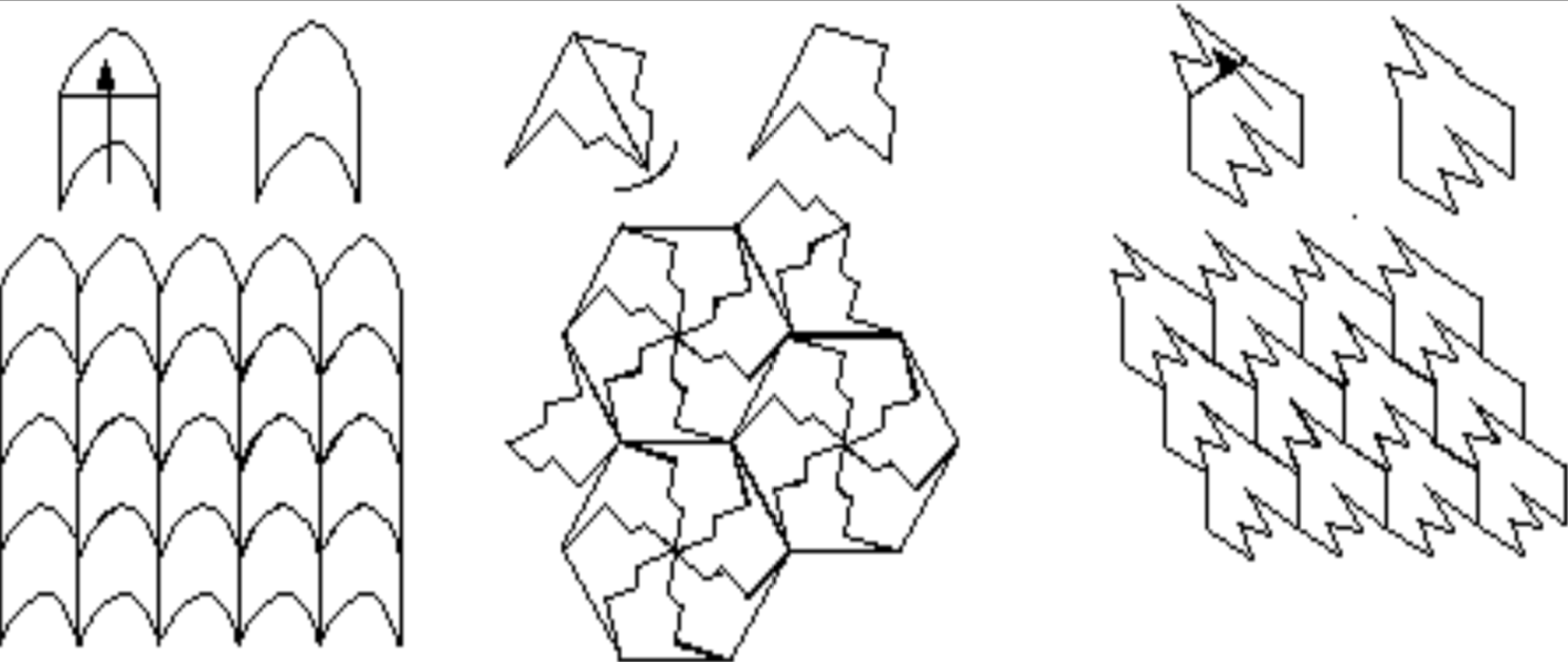 Examples of tessallating patterns from the group's slideshow