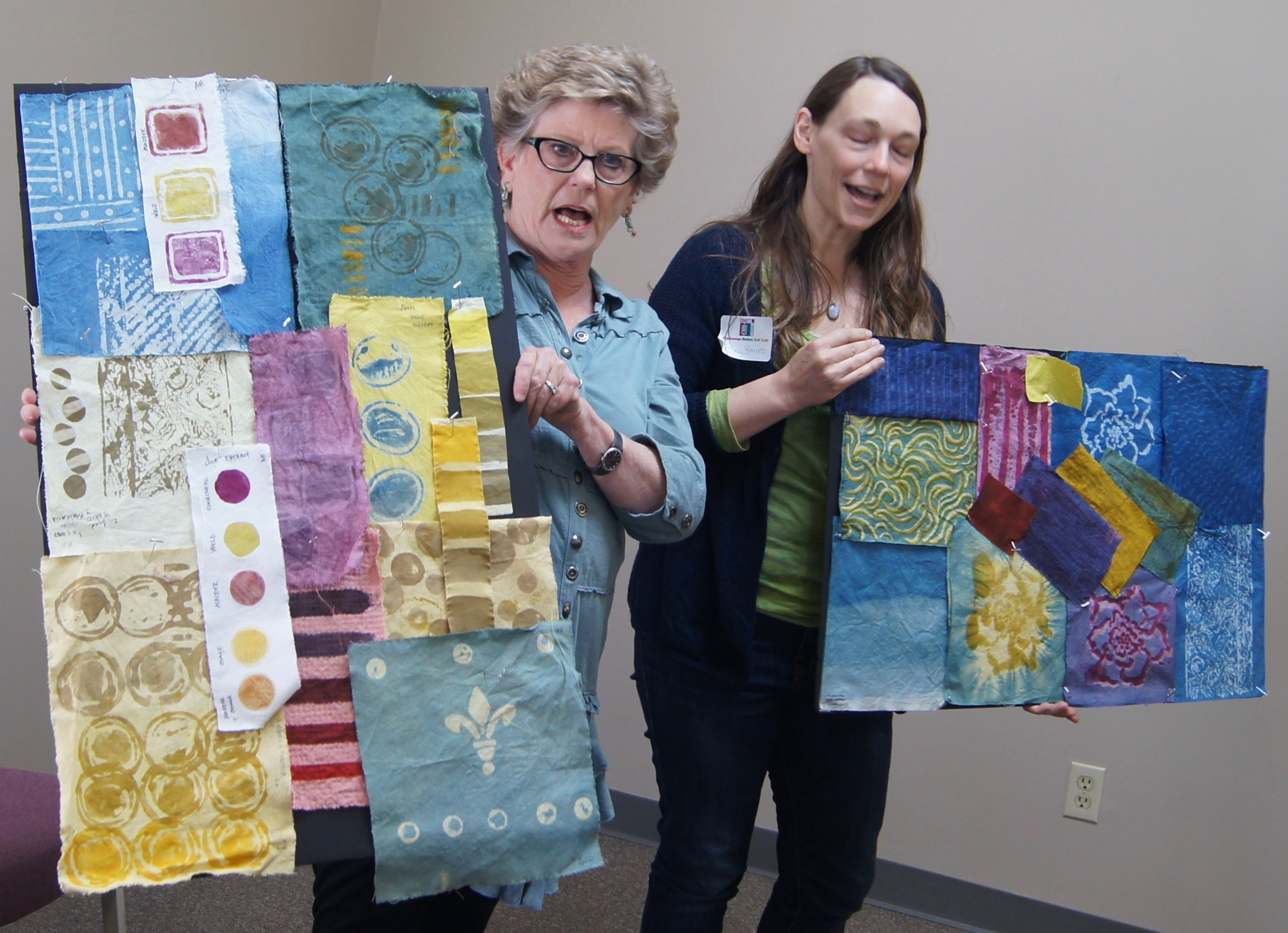 Hand-dyed fabric made by Ann (left) and Bethany Barnes (right) in a workshop
