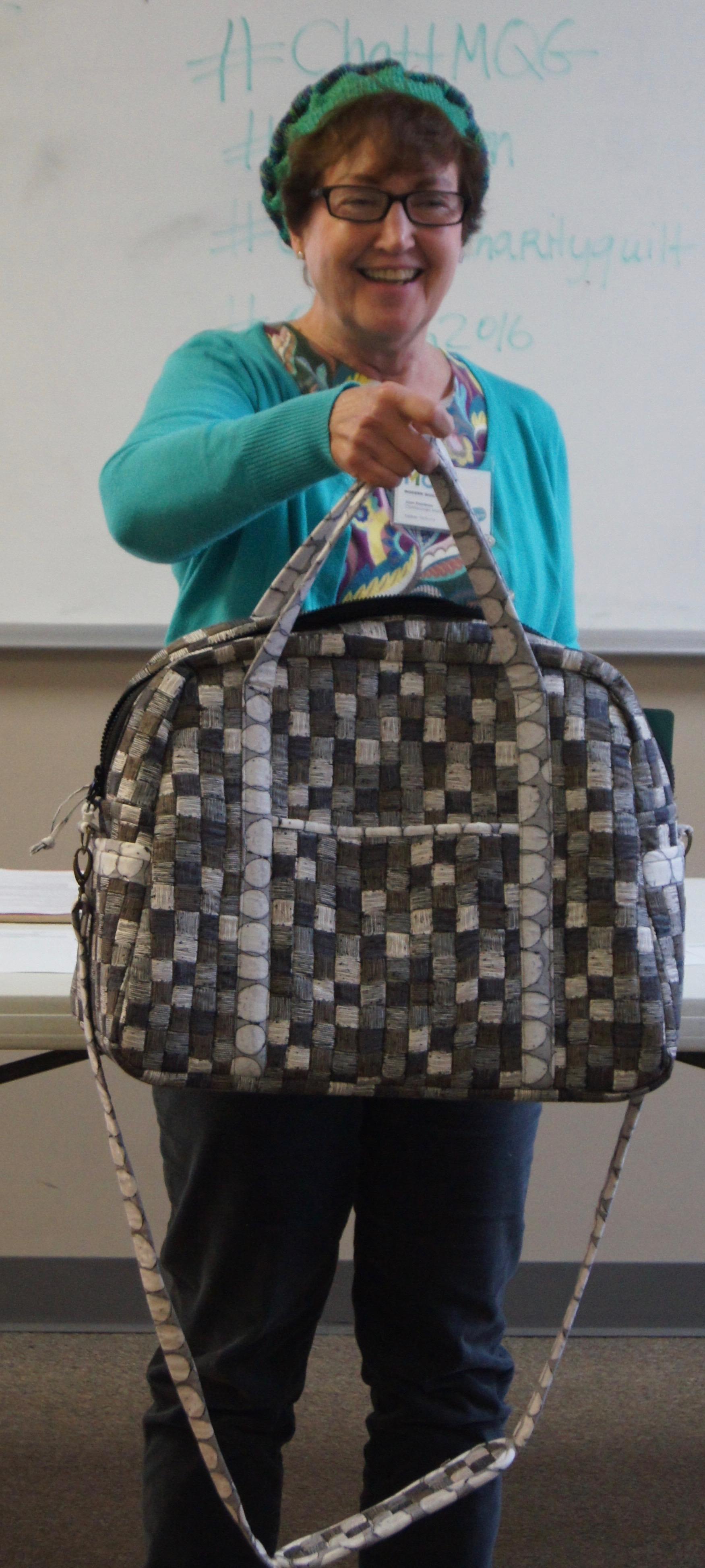 Joan Thornbury and her bag