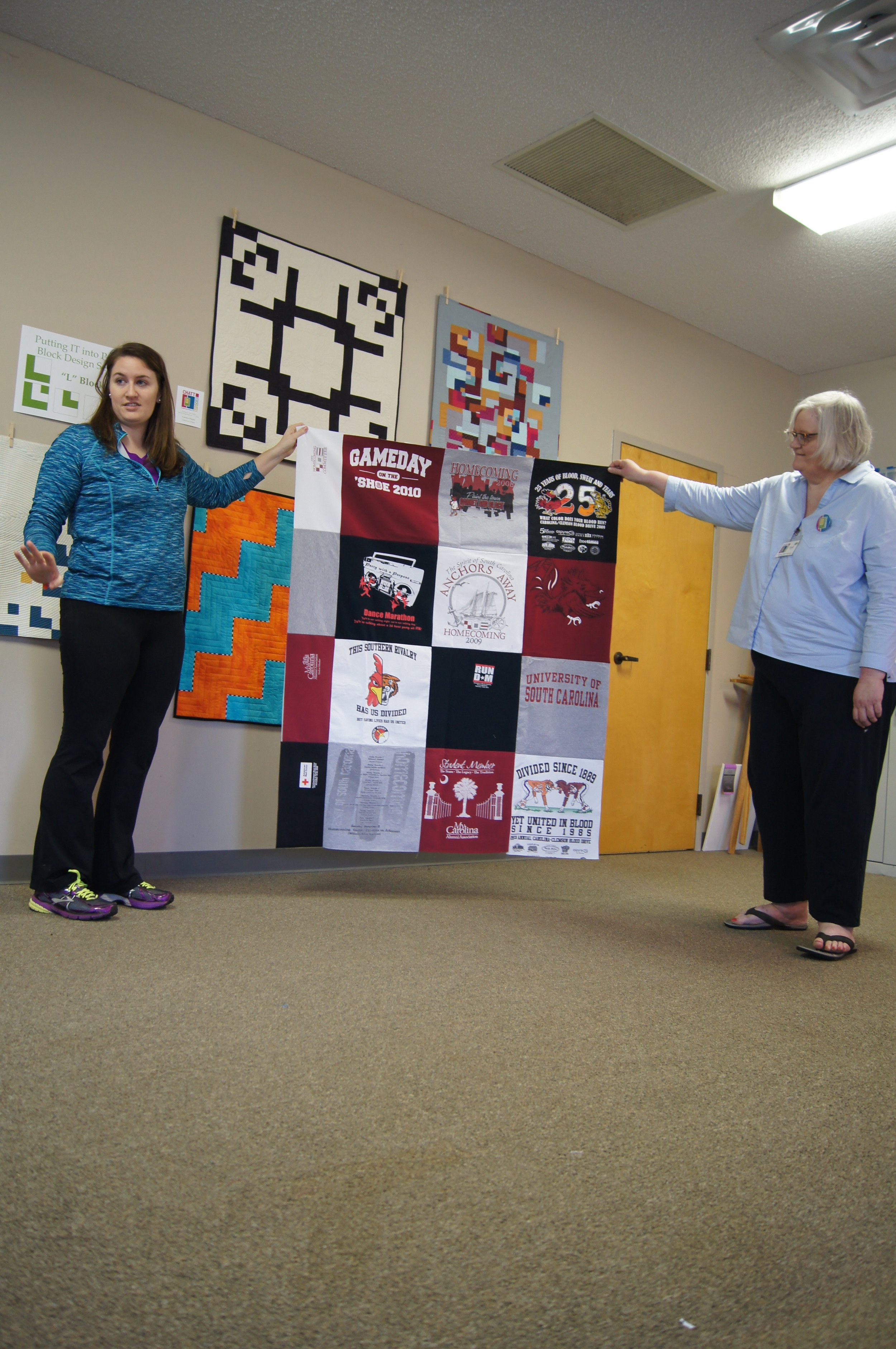 T-shirt quilt by Ashley Brown (left)