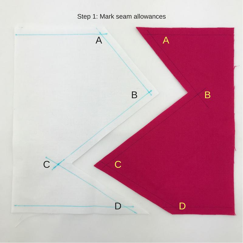 Step 1: Mark seam allowances to determine intersecting points