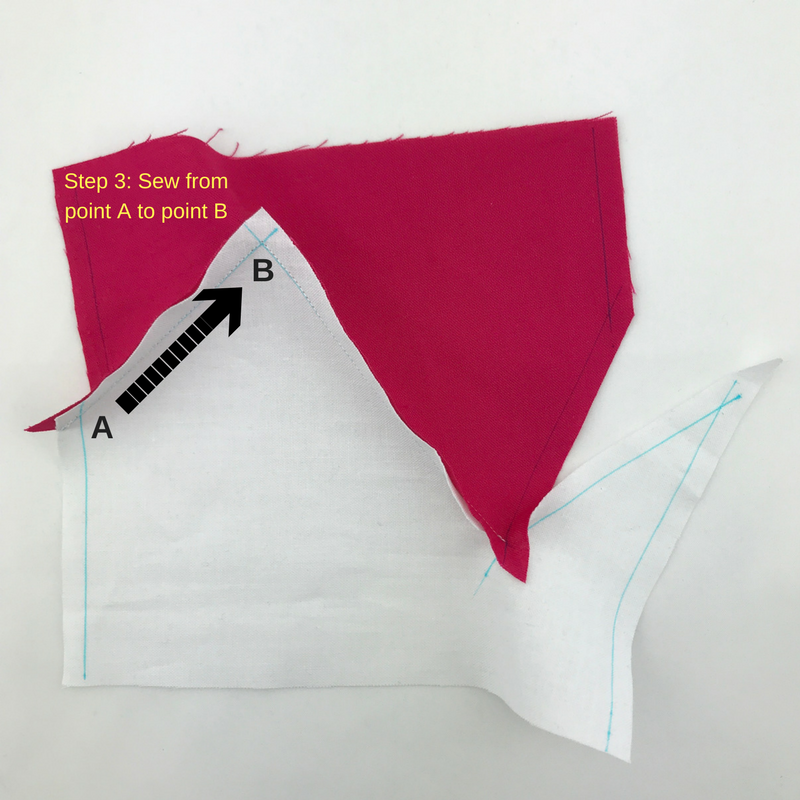 Step 3: Sew from point A to point B (pink fabric was on top in this example)