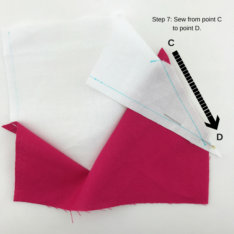 Step 7: Sew from point C to point D.