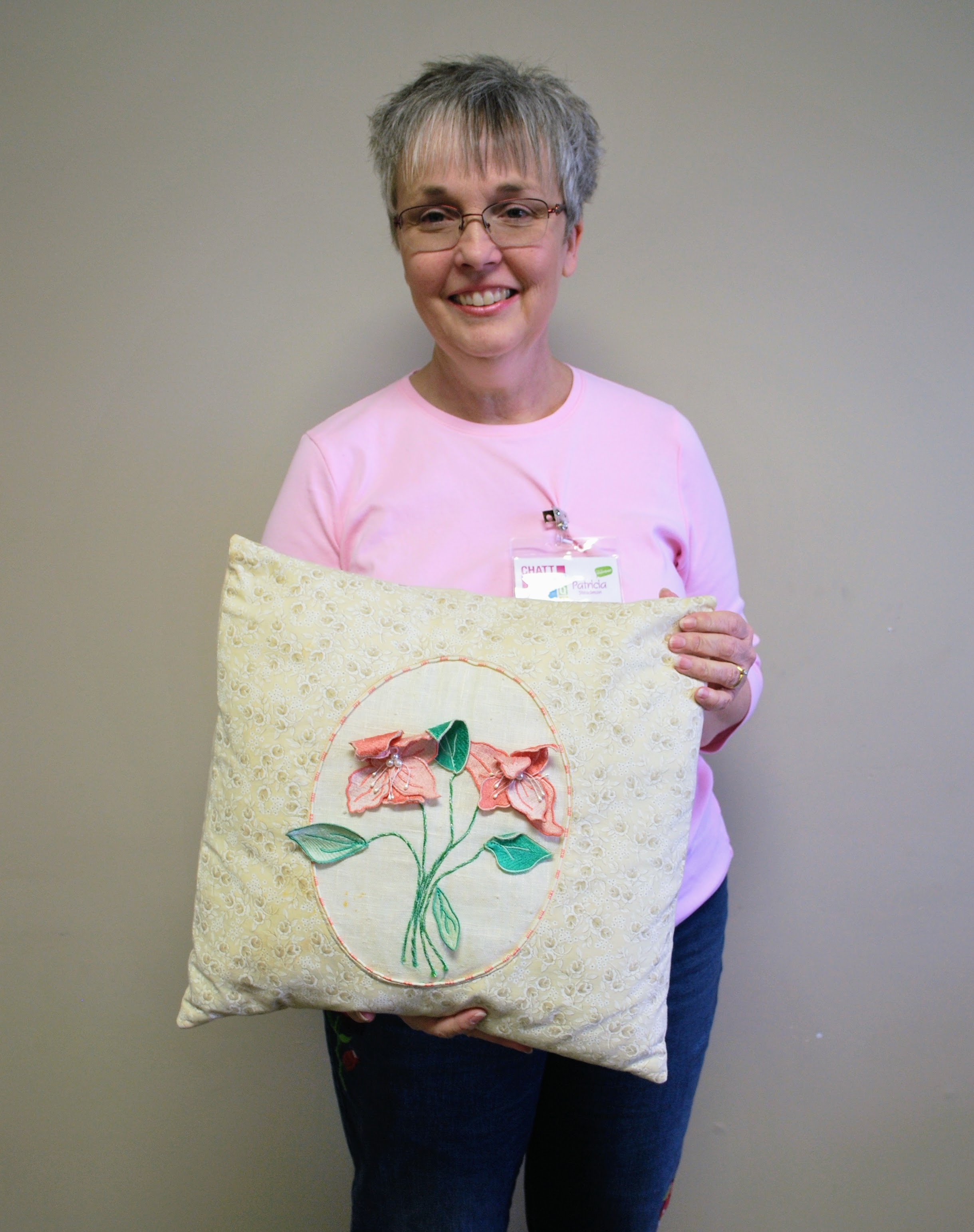 Patricia Steadman made this pillow for her mother several years ago.