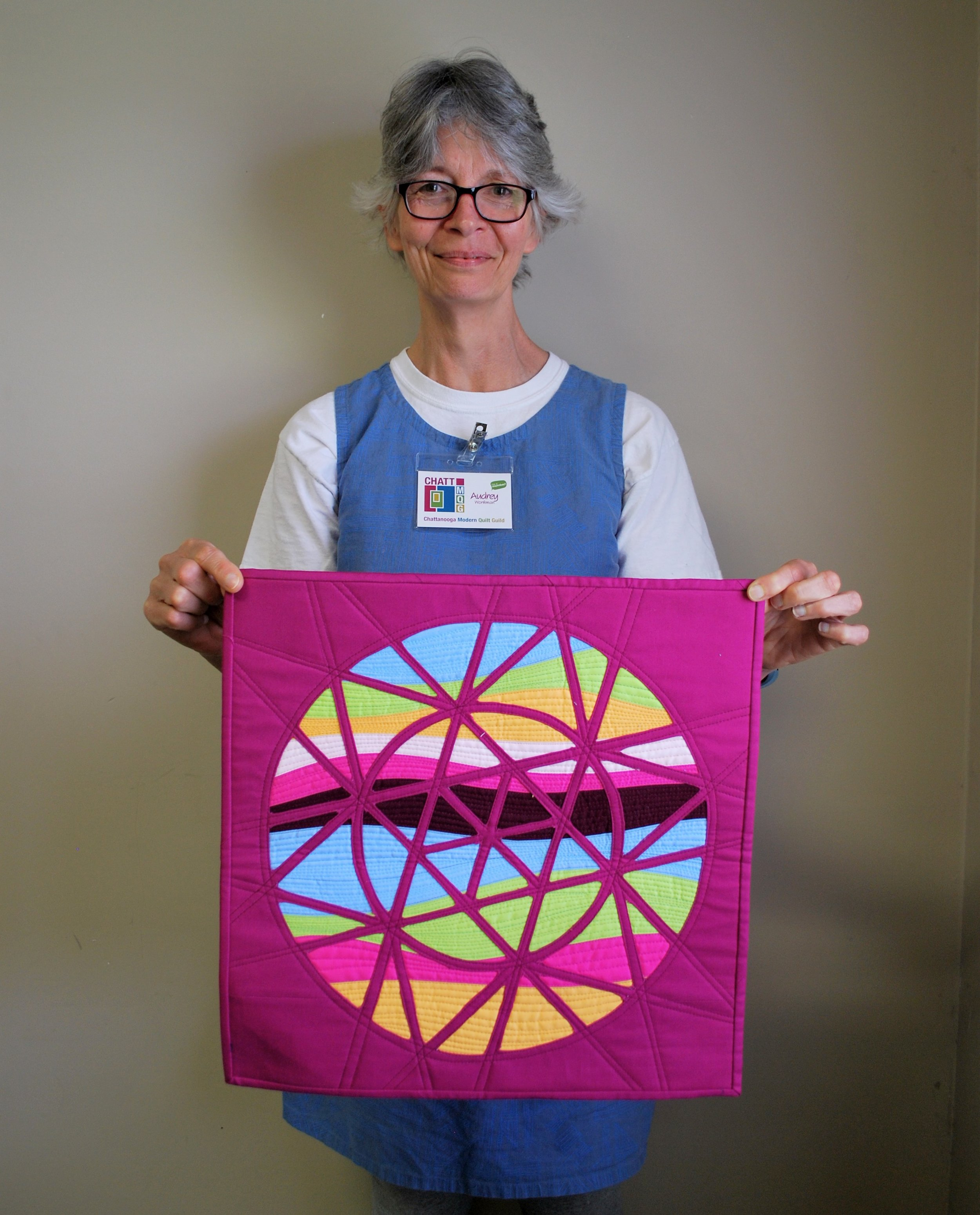 Audrey Workman's entry for the latest Curated Quilts mini quilt challenge