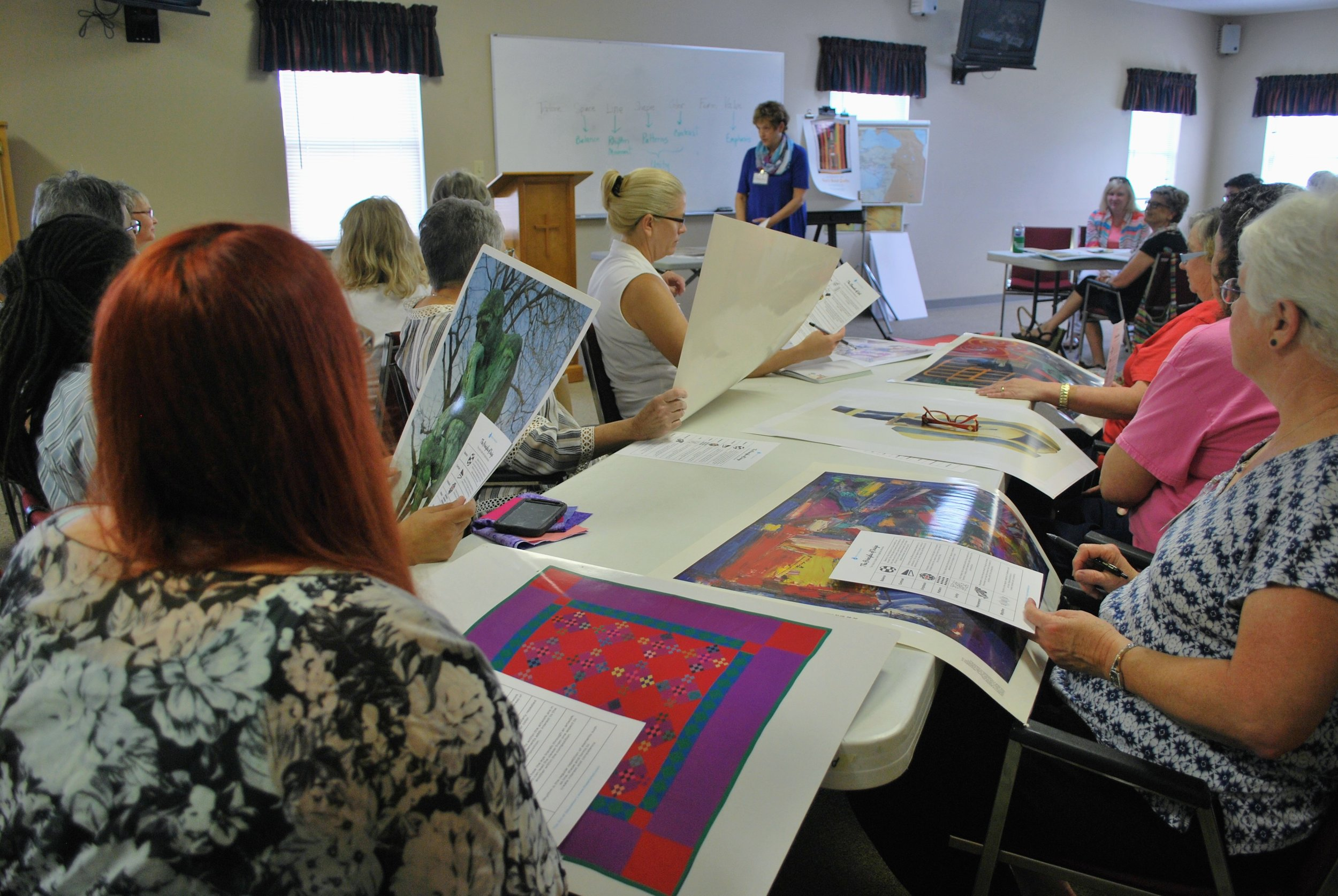 ChattMQG members identify elements of art and principles of design used in well-known artworks