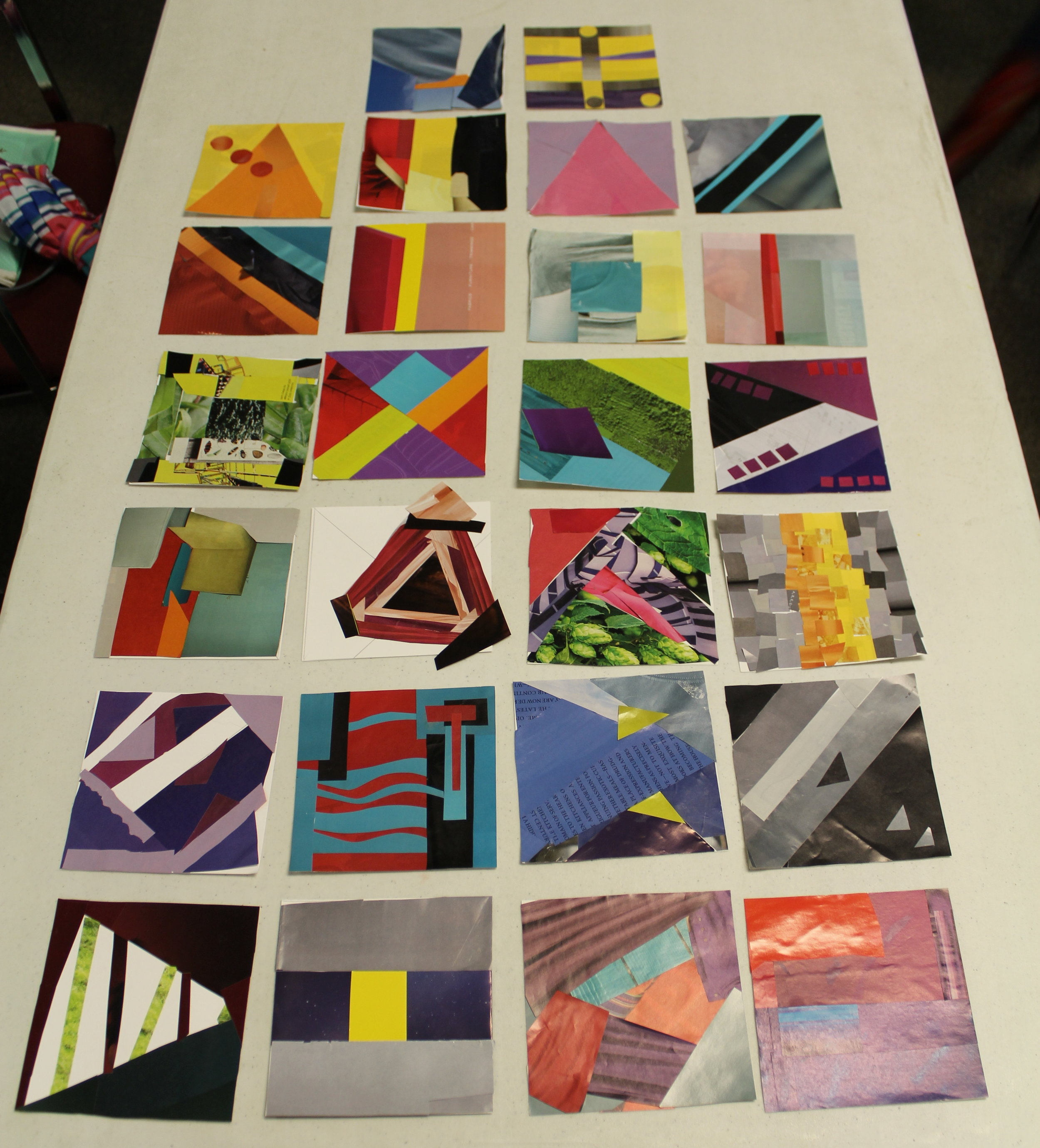 Our members created paper quilt blocks from magazine scraps to test their color theory knowledge.