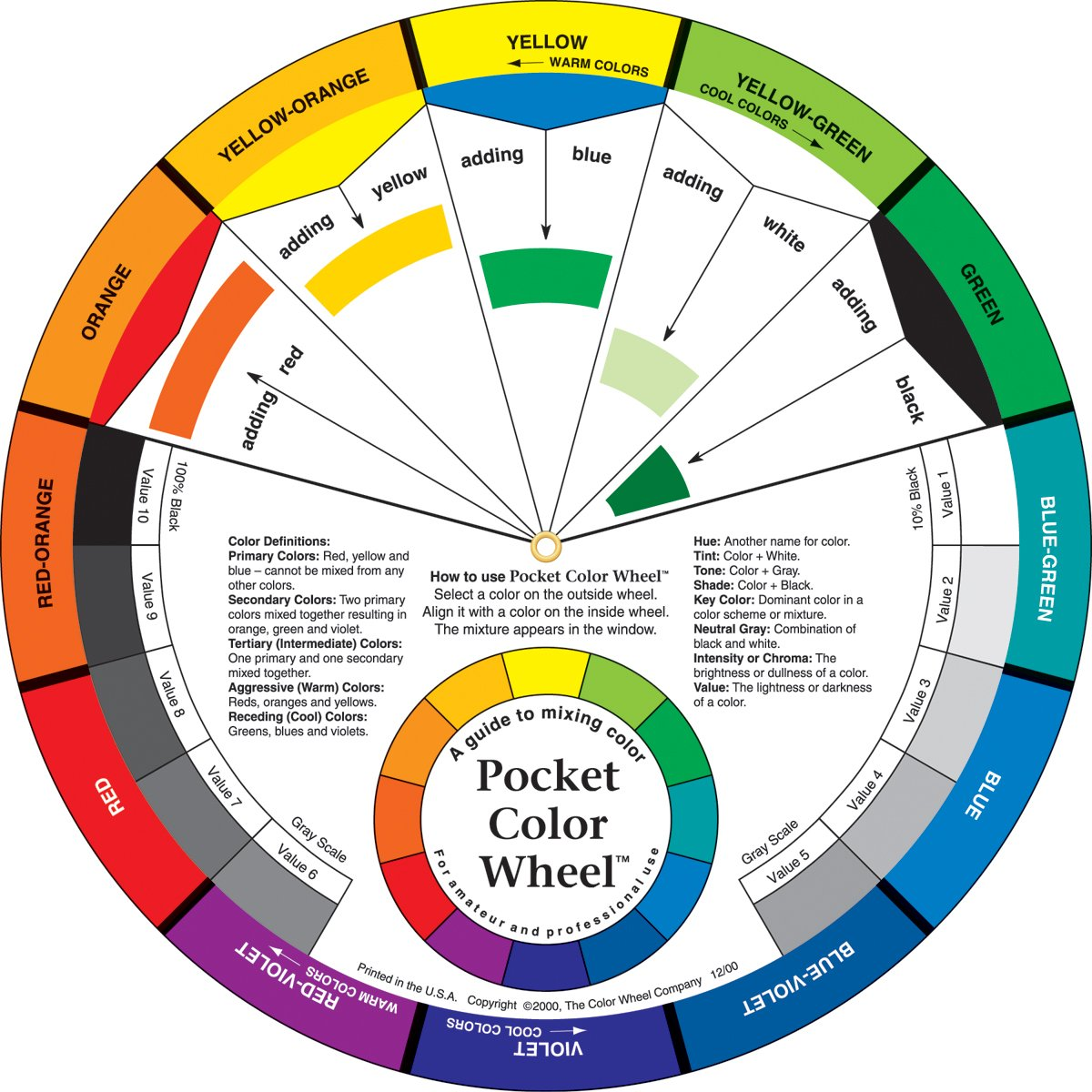 If you don't already have one, you can buy a color wheel like this from a local quilt shop or on amazon.com
