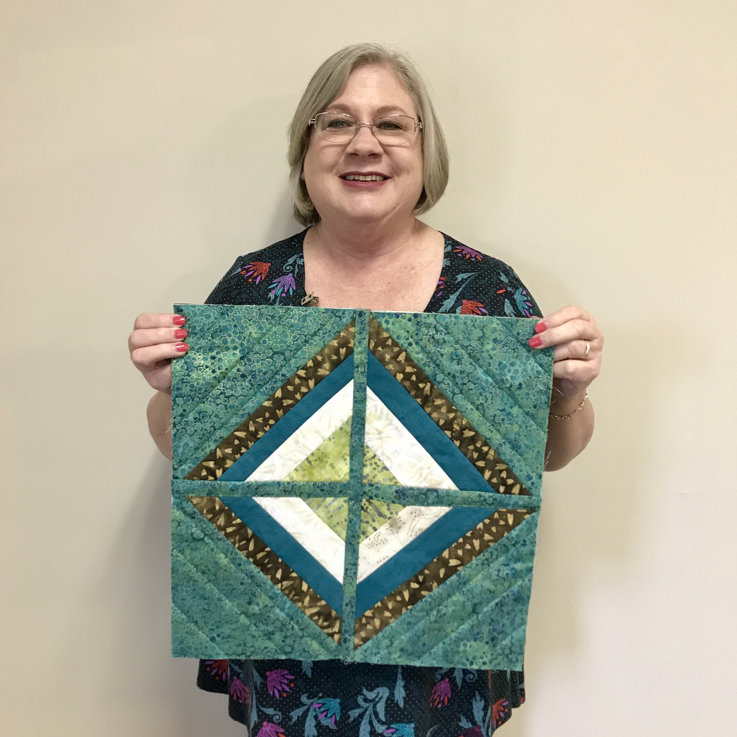 Quilt-as-you-go block by Kaye Laymance