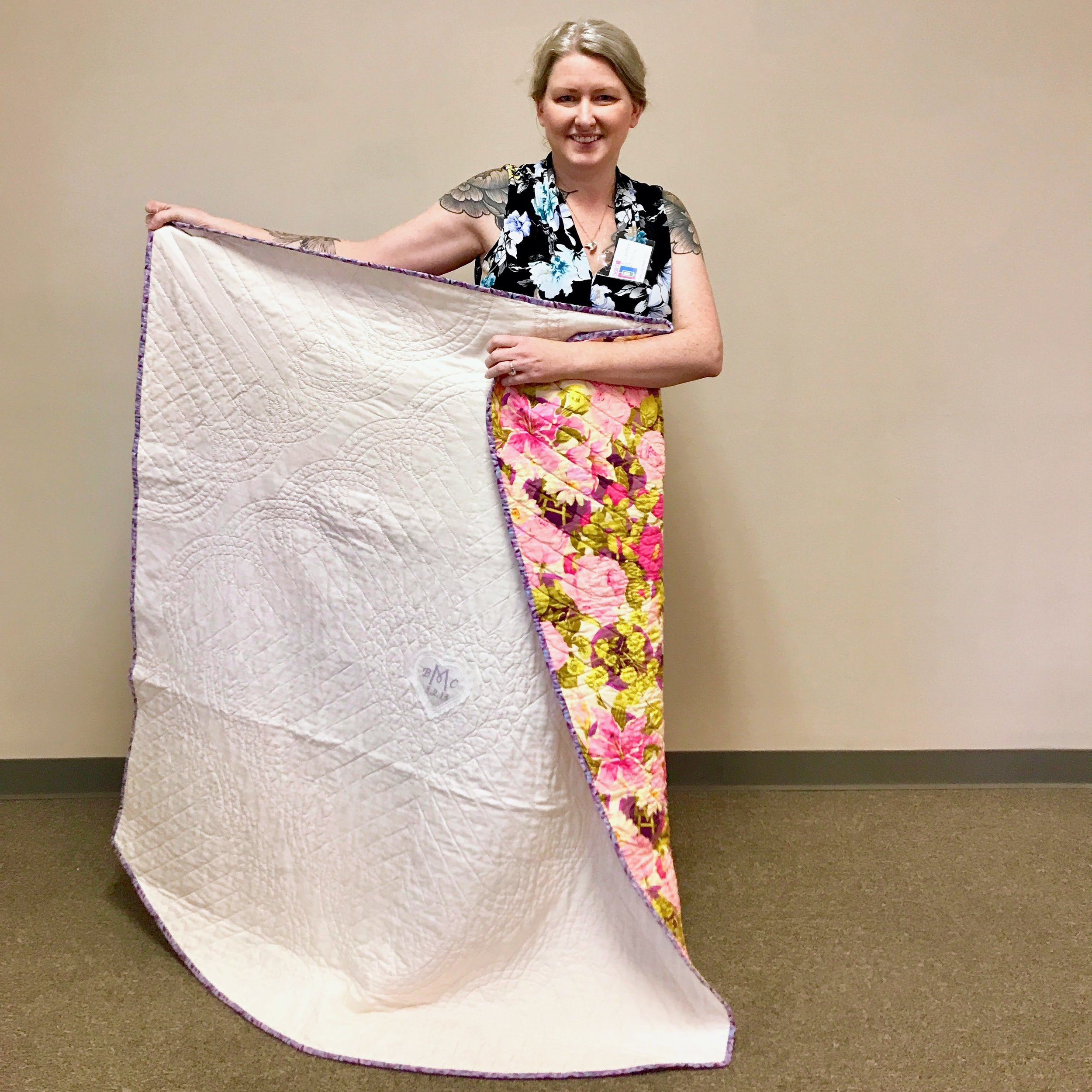 Candice Murray quilted a piece of the train from her silk wedding dress.