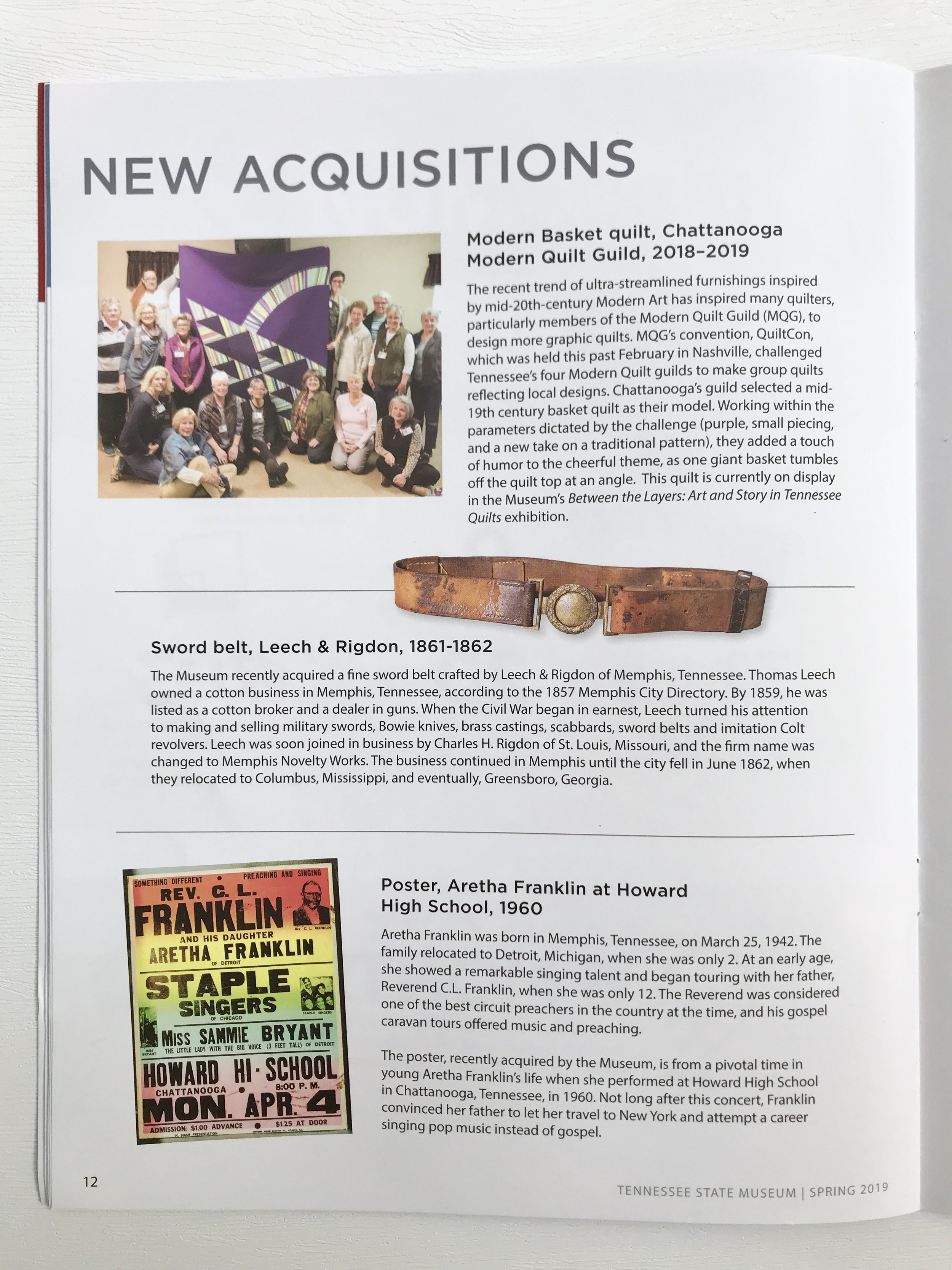 The Tennessee State Museum Spring 2019 newsletter features a writeup on the acquisition of our modern basket quilt.