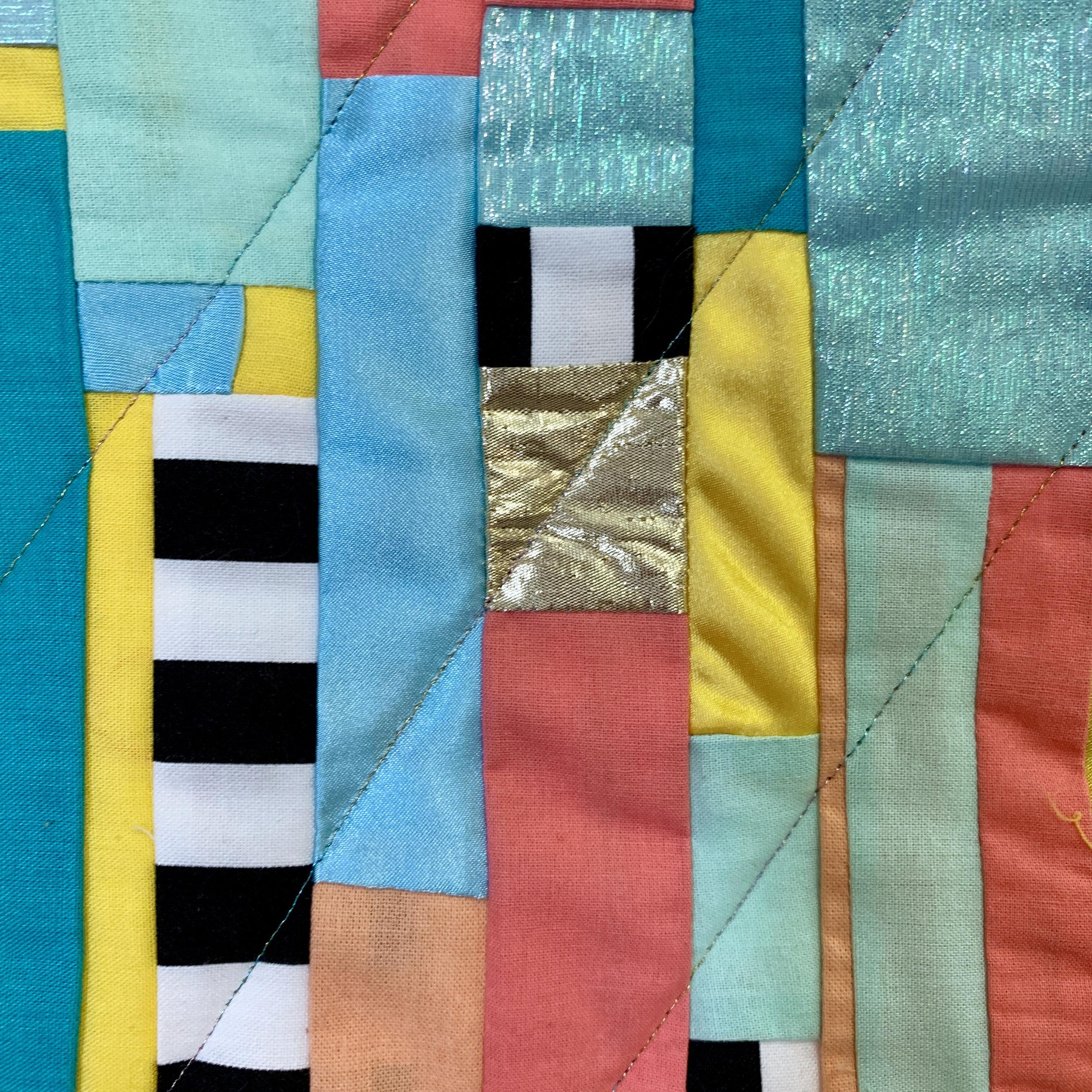Detail of the quilt by Farron Kilburn
