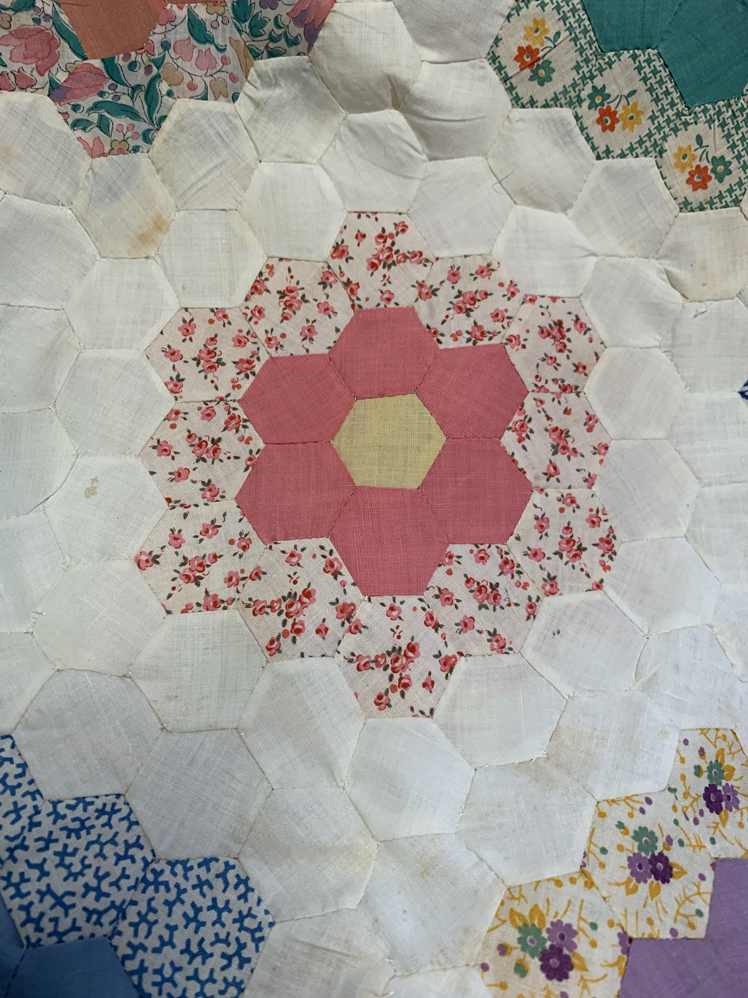 Sew hexagons together with Y-seams