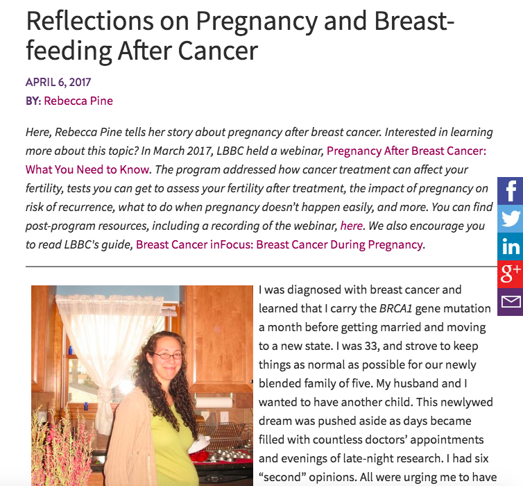 Living Beyond Breast Cancer: Reflections on Pregnancy and Breastfeeding After Cancer -