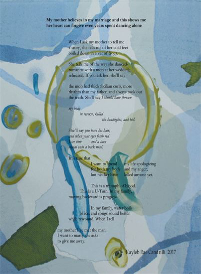 2017:   Kayleb Rae Candrilli's  winning poem, selected by judge  Sandra Beasley , can be read in  The Adroit Journal .  It was also made into a custom broadside valued at $500 by artist and poet MaryAnn L. Miller.