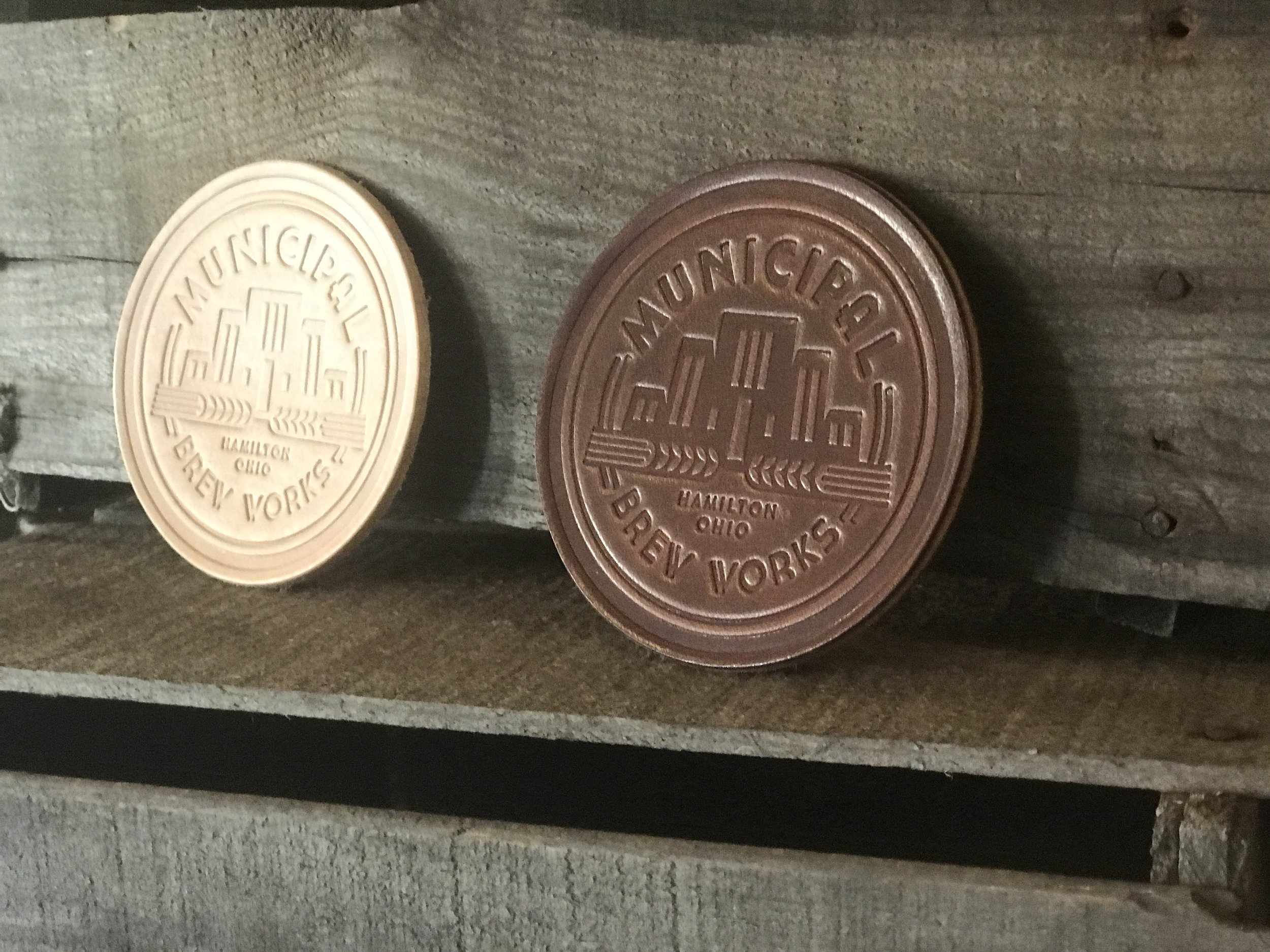 Municipal Brew Works - A custom leather coaster project for Municipal Brew Works in Hamilton, Ohio.