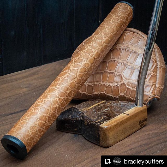 We've been bad about posting lately but we wanted to show you a lot of what we've been working on. #Repost @bradleyputters with @get_repost ・・・ Brown gator head cover and grip to match the cigar box and tobacco putter I posted a few weeks ago. A match made in heaven.  #bradleyputters #golf #golfer #customputter #exotic #luxury #nextlevel #madeinamerica #handmade #craftsmanship #artisan