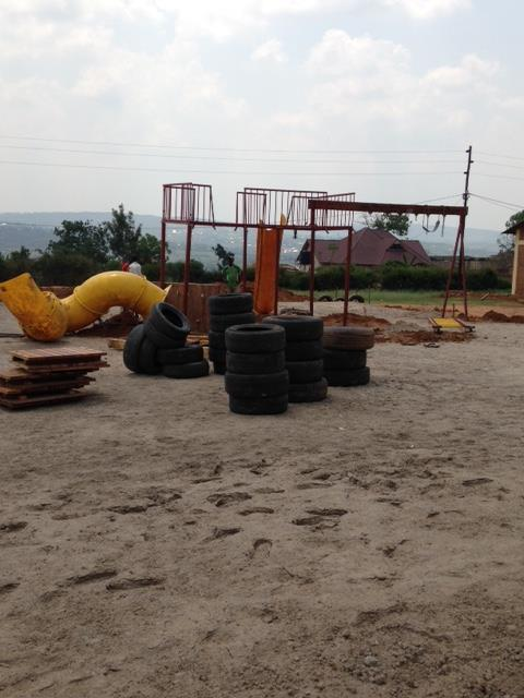 Slides and swings going in