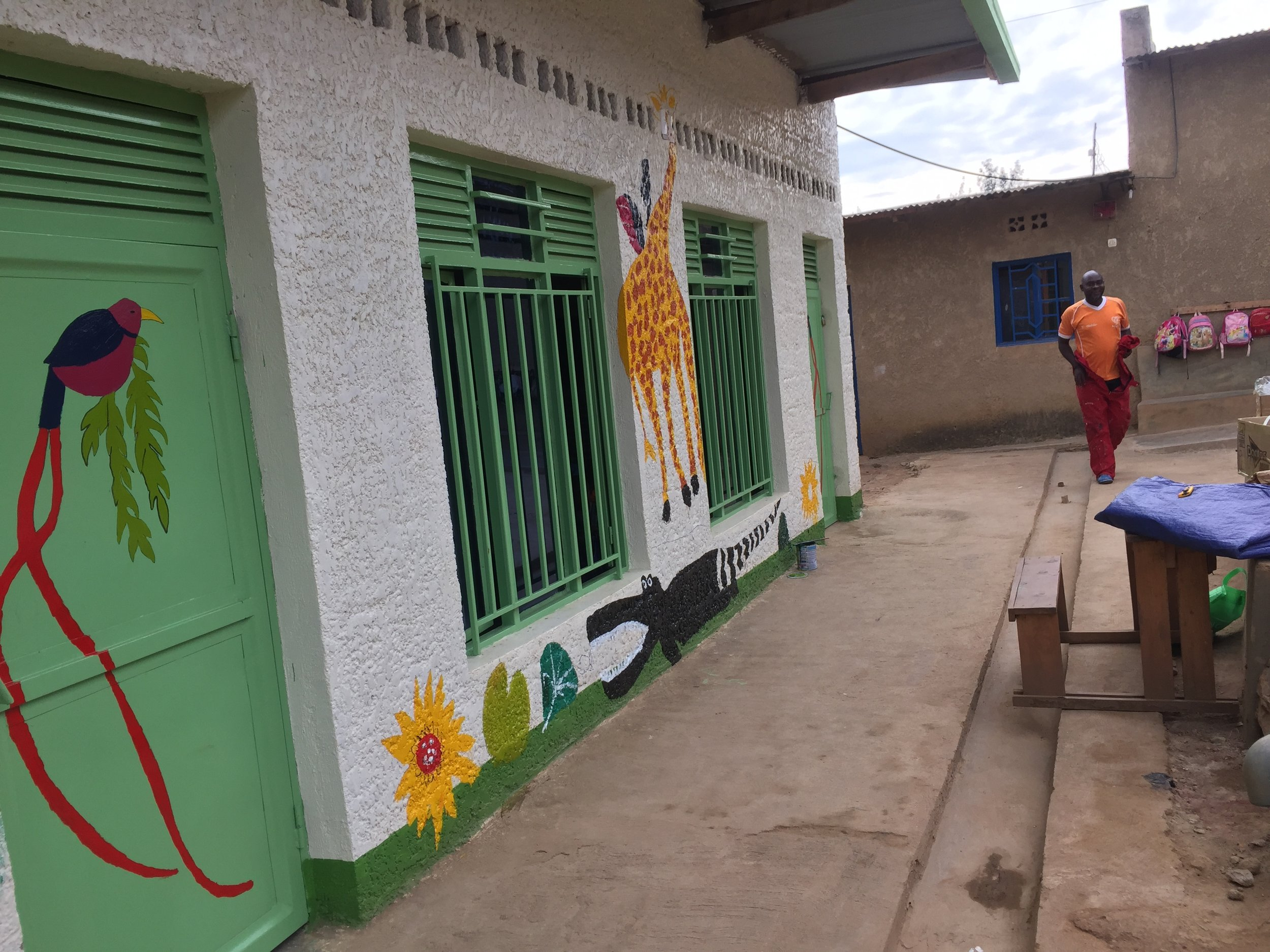 Classroom exterior with murals