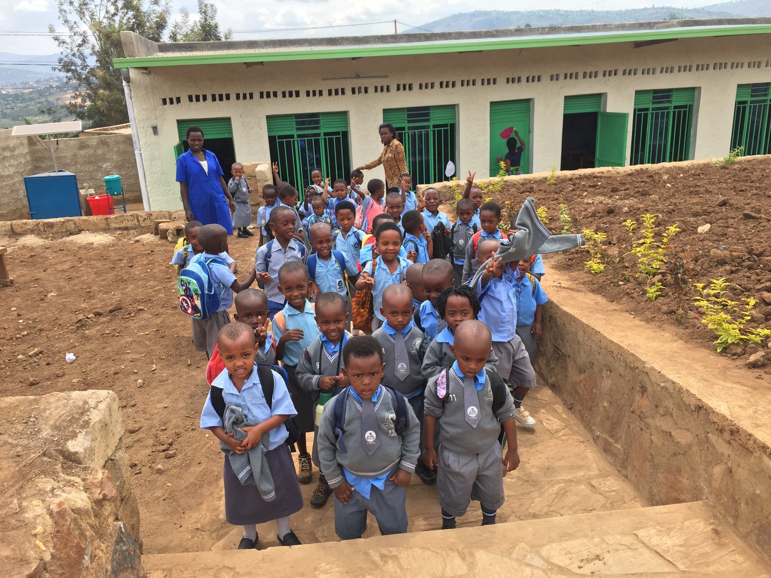 Students outside the new classroom