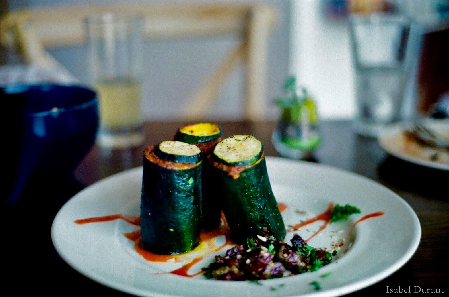 Stuffed zucchini towers
