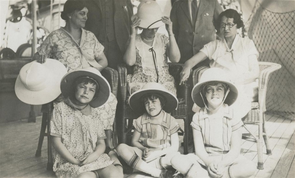 On a German freight steamer bound for West Africa, 1928.  Top row: my grandmother Roberta Brown Hope (left) and two fellow missionaries. Bottom row, left to right: my mother Roberta, my aunts Winifred and Esther.